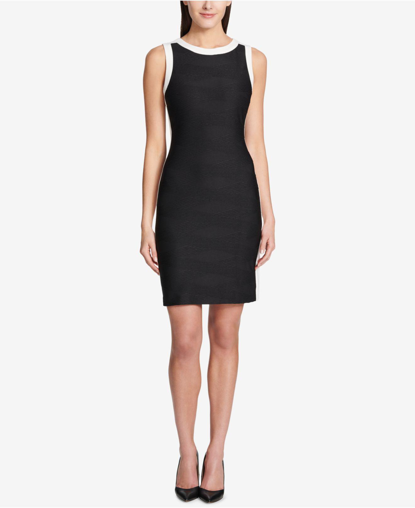 a429d922 Tommy Hilfiger Crisscross-knit Sheath Dress in Black - Lyst
