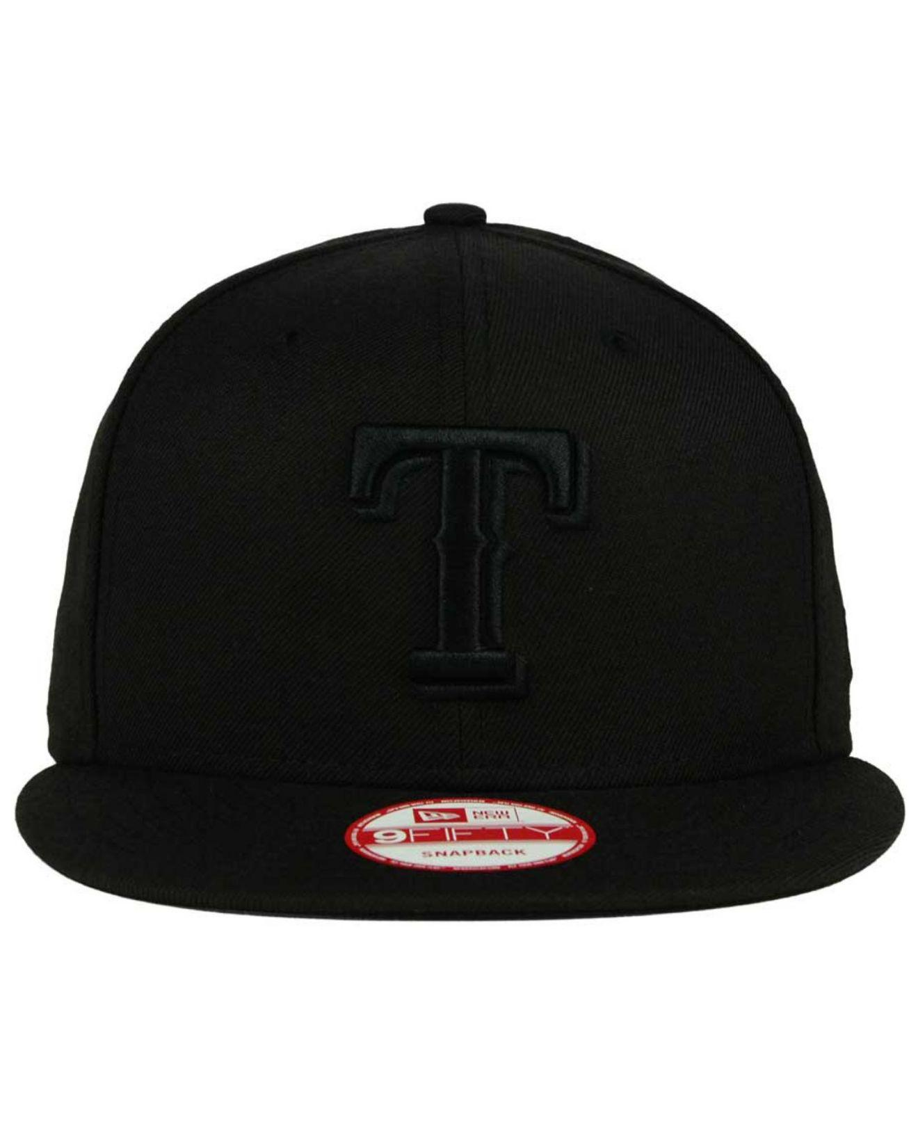best service 3201d dd17f KTZ Texas Rangers Black On Black 9fifty Snapback Cap in Black for Men - Lyst