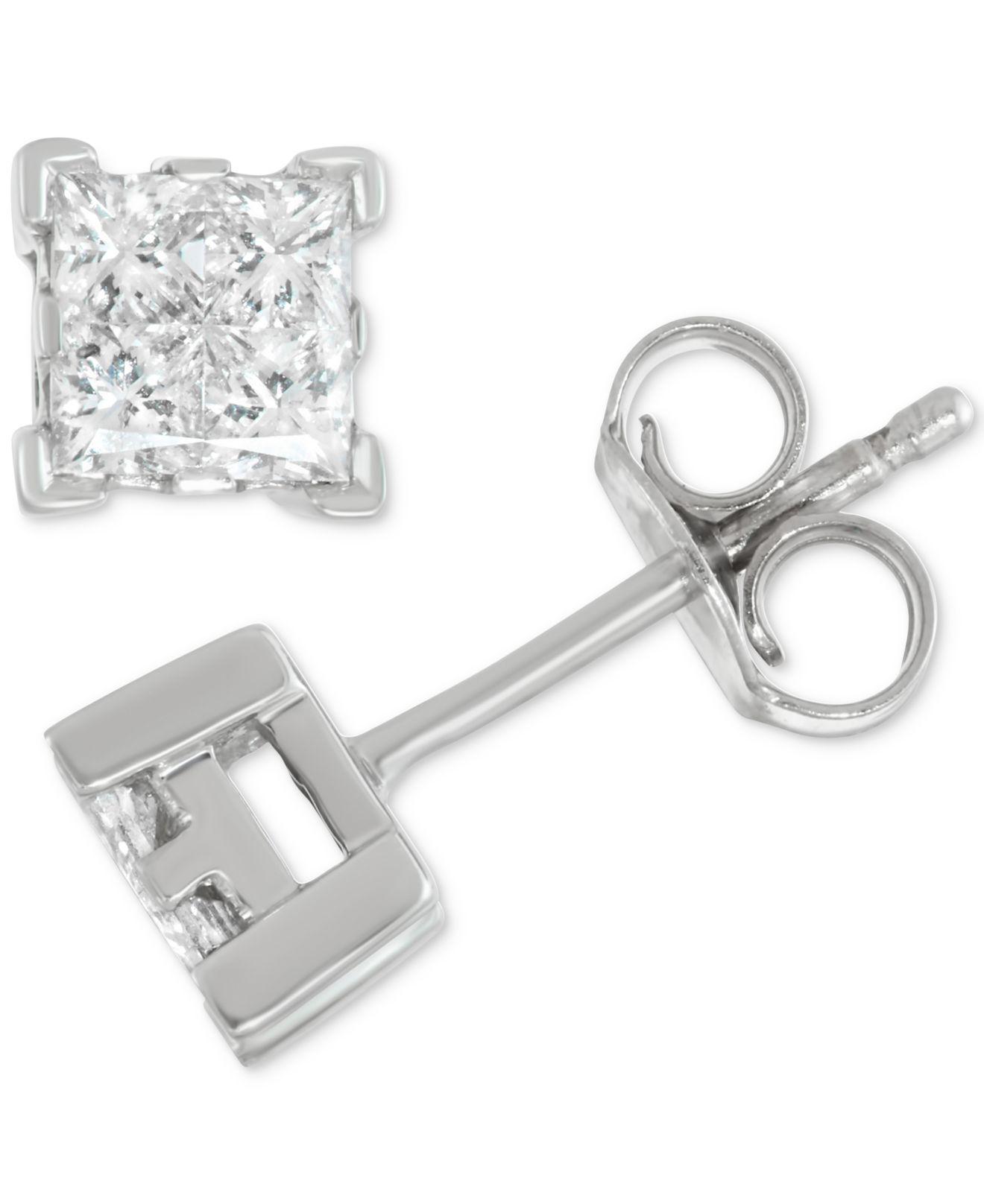 Lyst Macy S Diamond Princess Stud Earrings 1 2 Ct T W In 14k