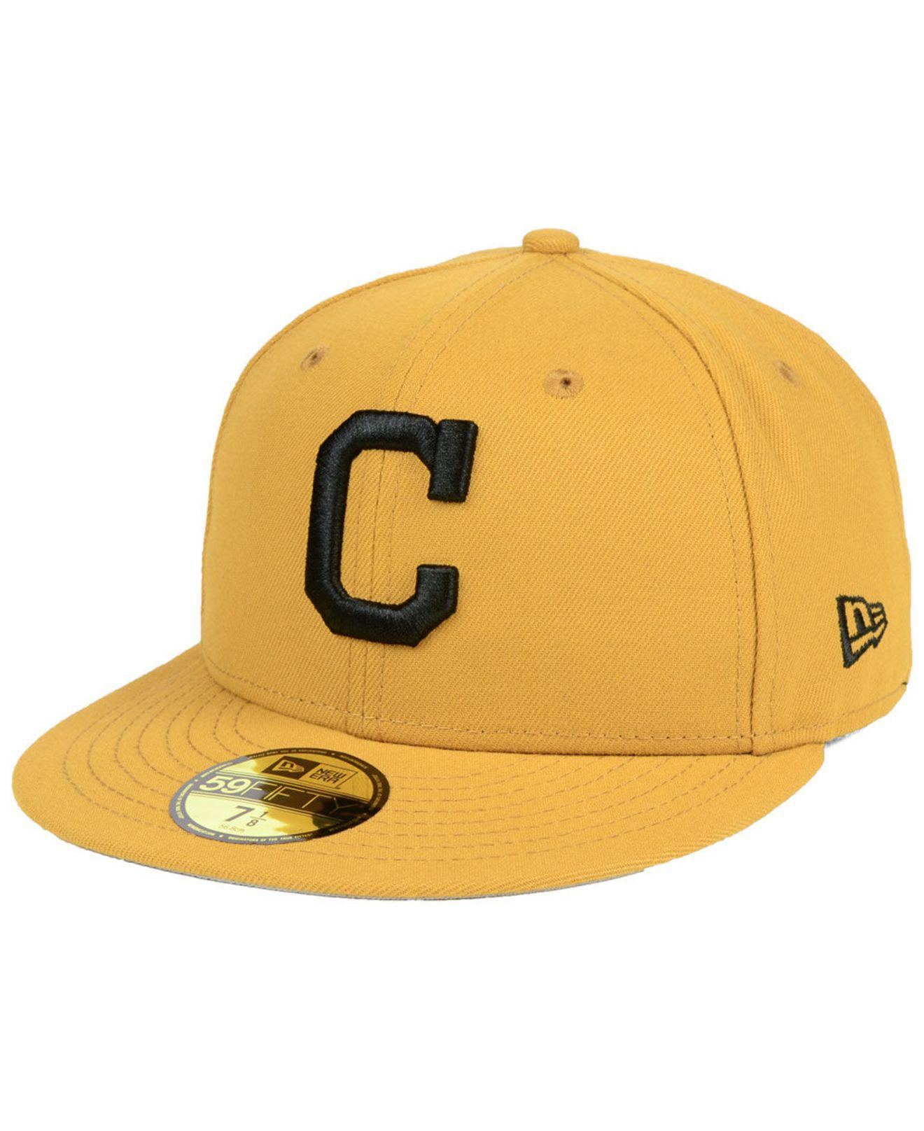 online store c76e3 4fc40 KTZ Cleveland Indians Reverse C-dub 59fifty Fitted Cap in Yellow for ...