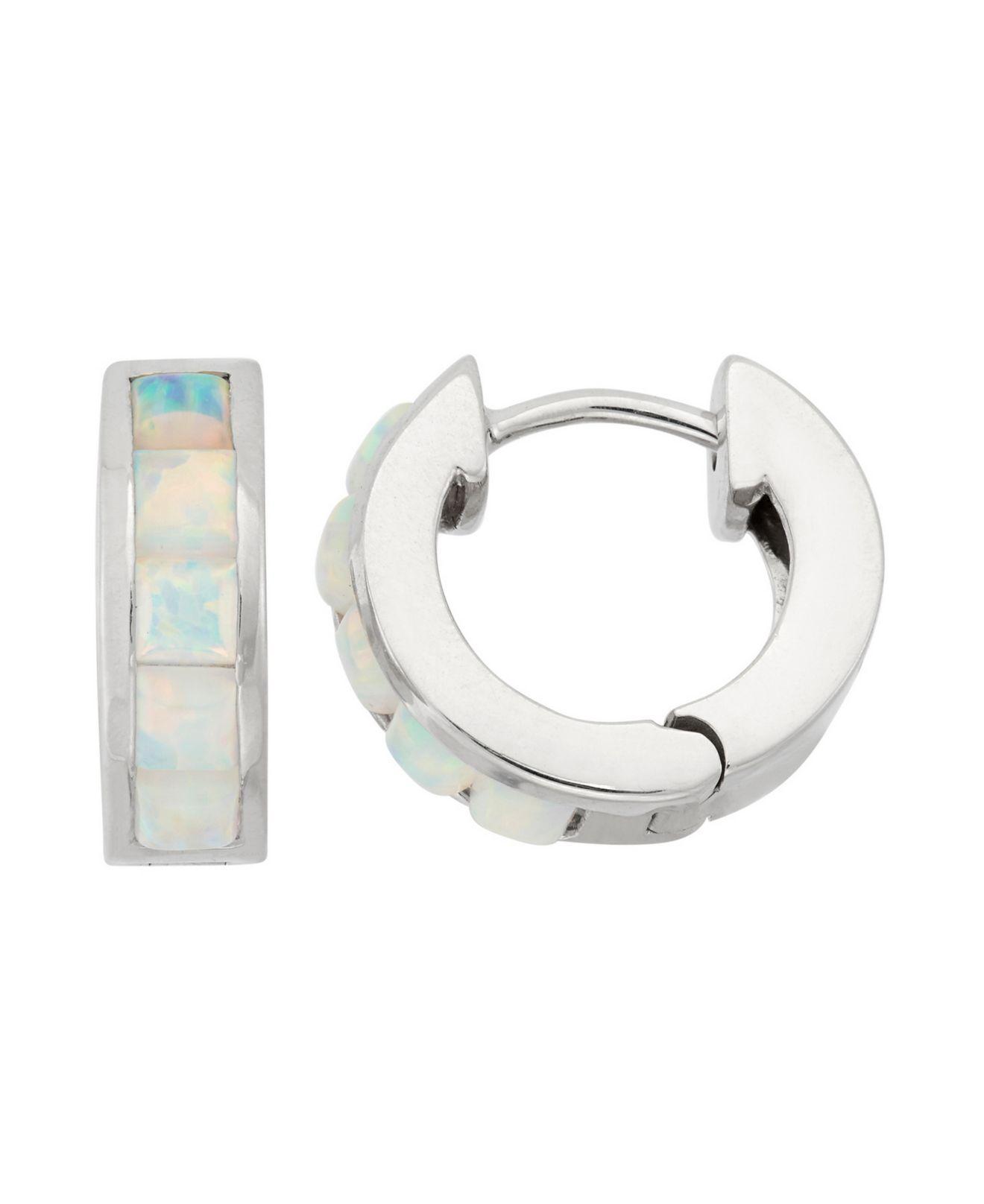 d8659773fc92e Lyst - Macy's Sterling Silver Princess-cut Opal Hoop Earrings in ...