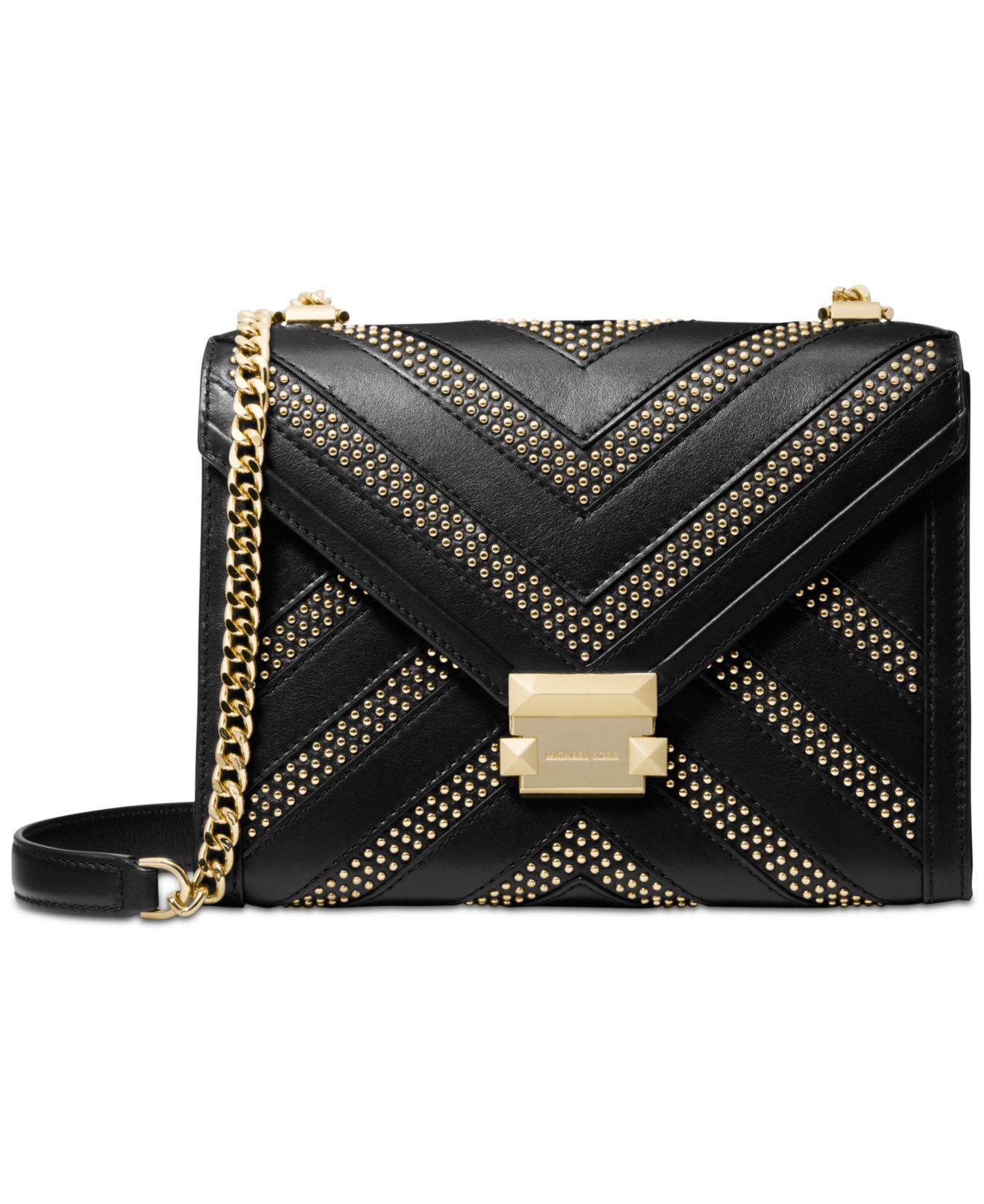526063c2c095 Michael Kors. Women s Black Whitney Large Studded Leather Convertible Shoulder  Bag