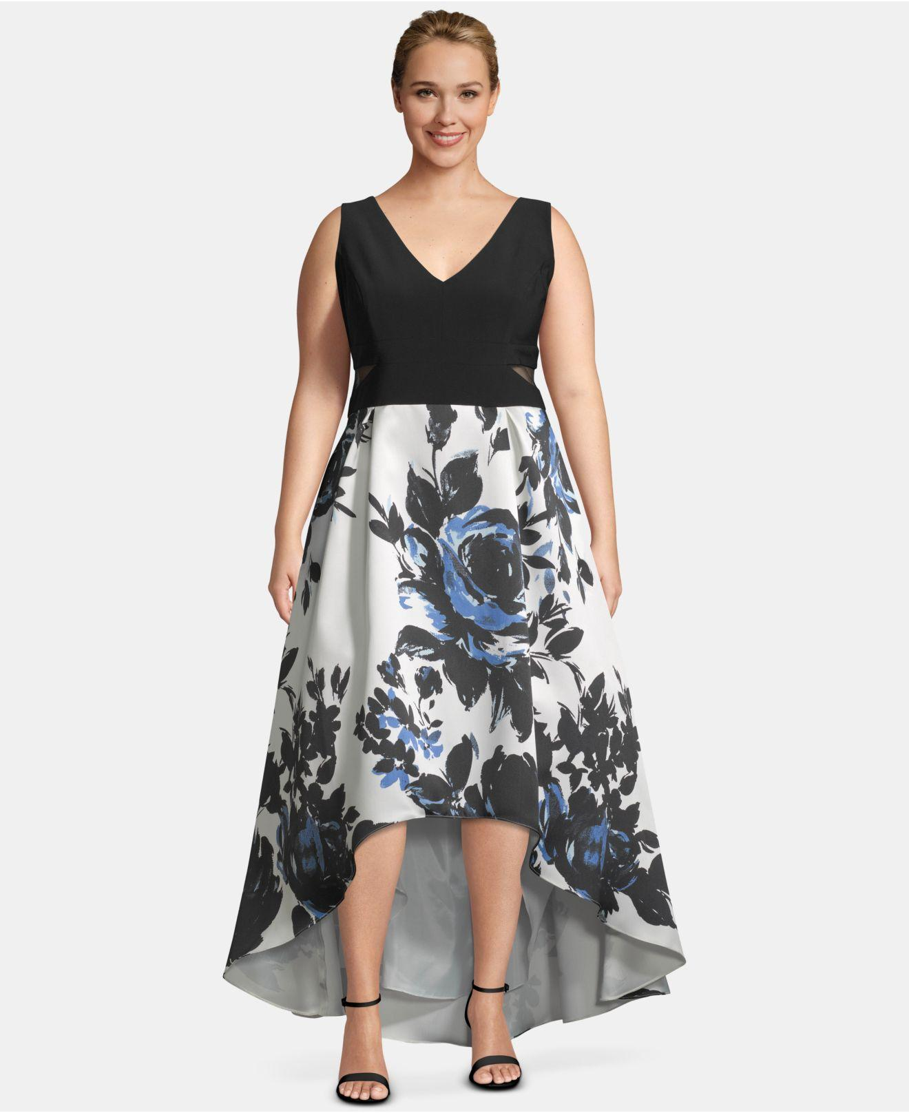 0f8a562d2a5b5 Lyst - Xscape Plus Size High-low Printed-skirt Gown in Black