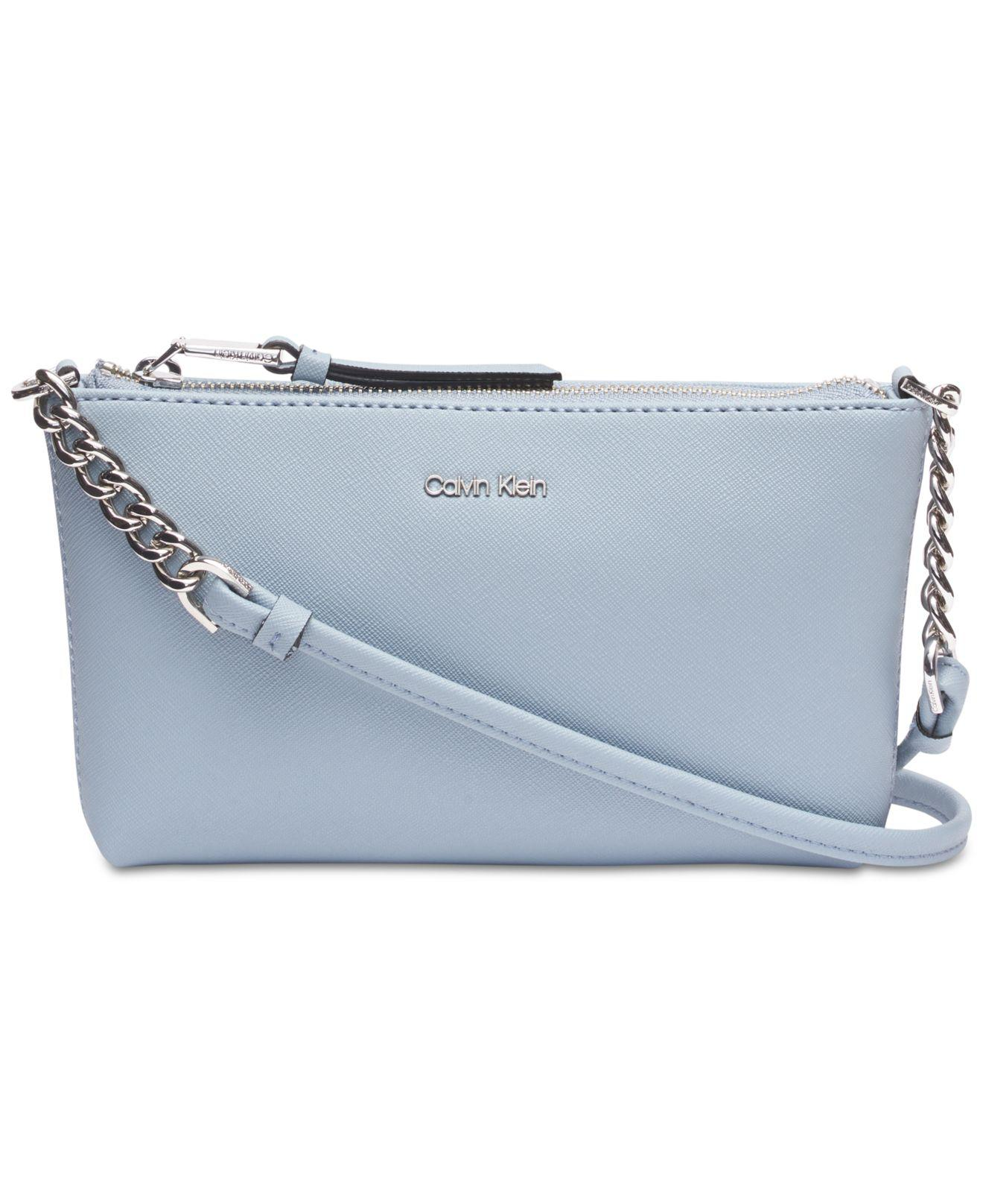 816e67a52 Calvin Klein Hayden Saffiano Leather Chain Crossbody in Blue - Lyst