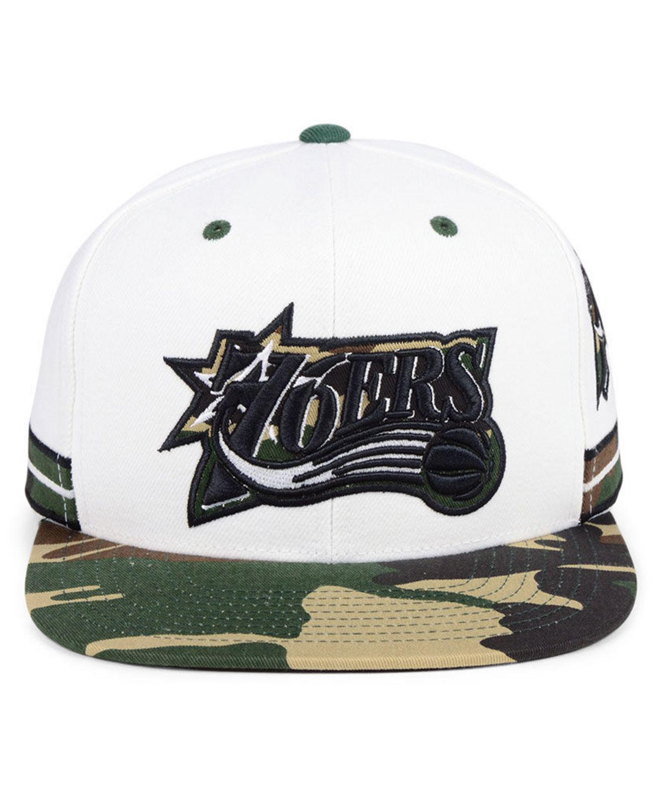 4a4713b6f0a72 ... order lyst mitchell ness philadelphia 76ers straight fire camo hook snapback  cap in white for men