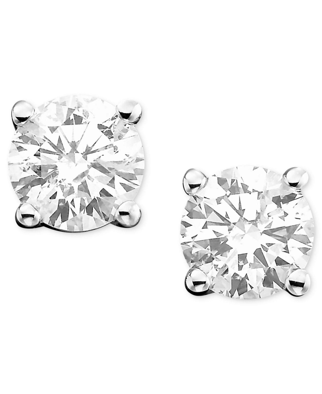 18265a8e7 Lyst - Macy's Diamond Stud Earrings (1-1/4 Ct. T.w.) In 14k White Or ...