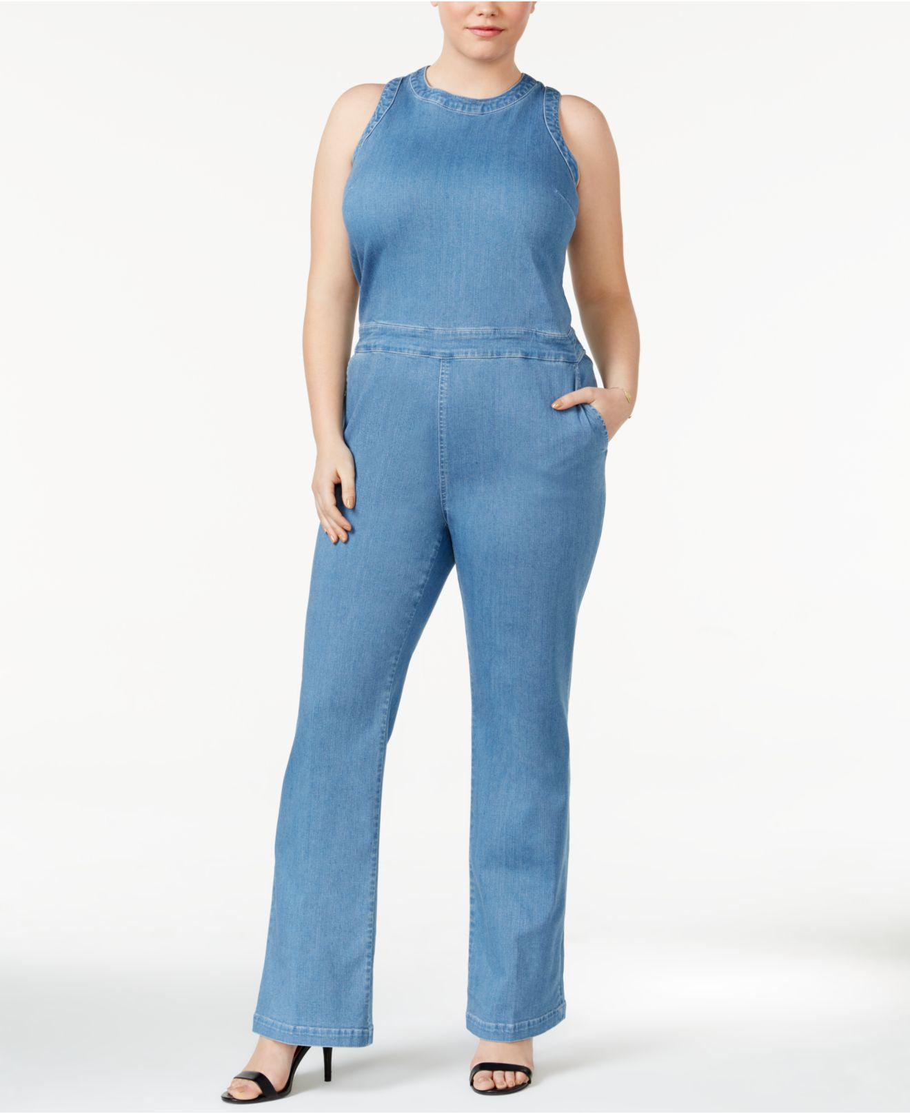 4f63d17b7eea Lyst - RACHEL Rachel Roy Trendy Plus Size Denim Jumpsuit in Blue