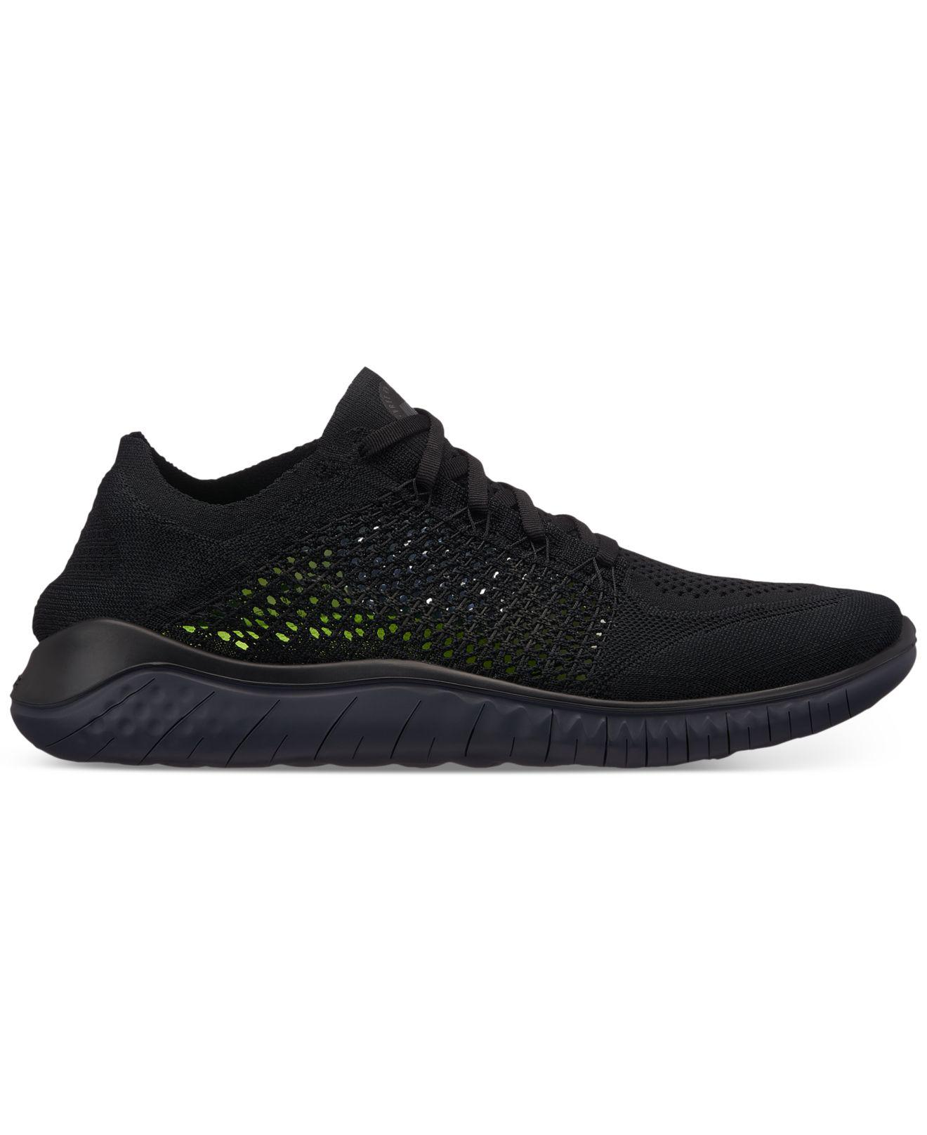 Nike. Men s Black Free Run Flyknit 2018 Running Sneakers From Finish Line f44089c2a