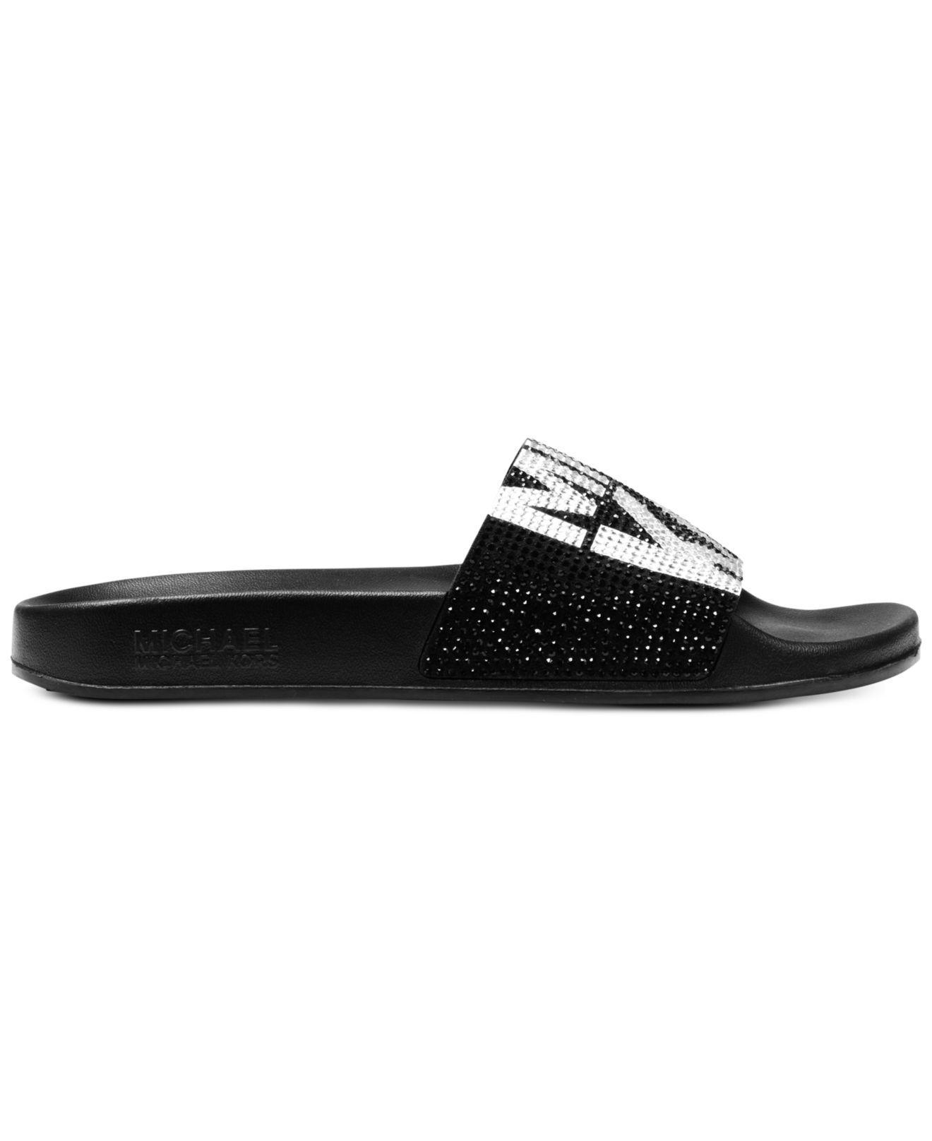 a4fc3258bf1af Michael Kors Gilmore Pool Slide Sandals in Black - Save 29% - Lyst
