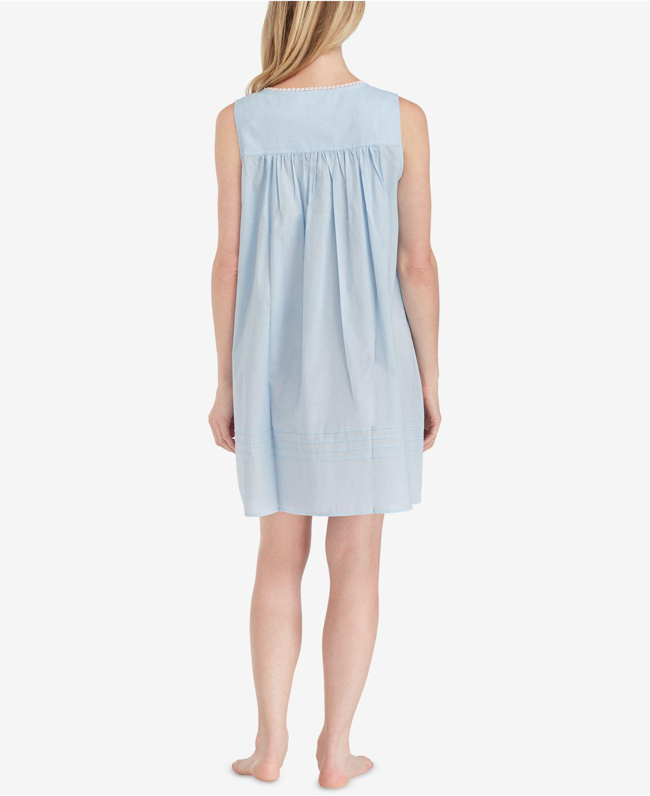 529487c564 Lyst - Eileen West Cotton Lace-trim Short Nightgown in Blue