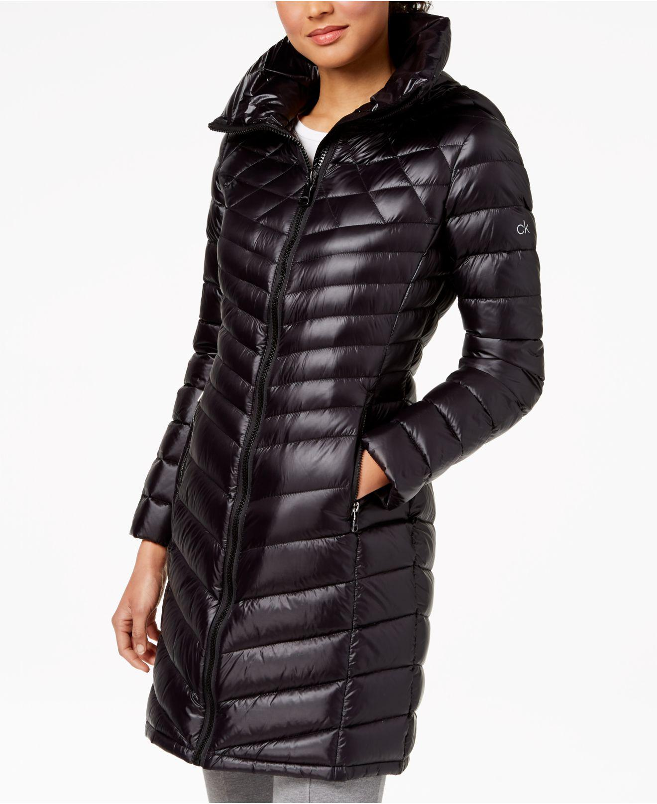 b658c981eddd Lyst - Calvin Klein Hooded Packable Puffer Coat in Black
