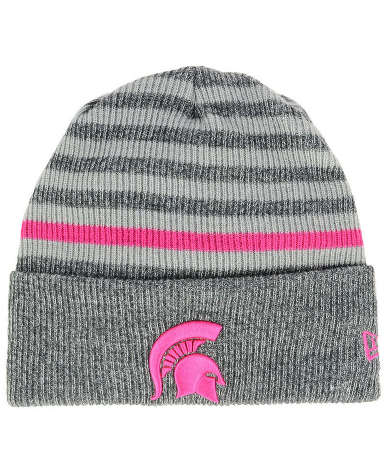 Lyst - KTZ Michigan State Spartans Striped Chill Knit Hat in Gray d16d65802cde