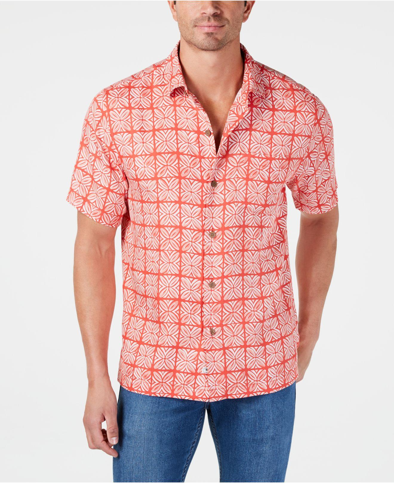 cfa2fee8135 Tommy Bahama. Men s Orange Regular-fit Tonal Geo-print Silk Camp Shirt