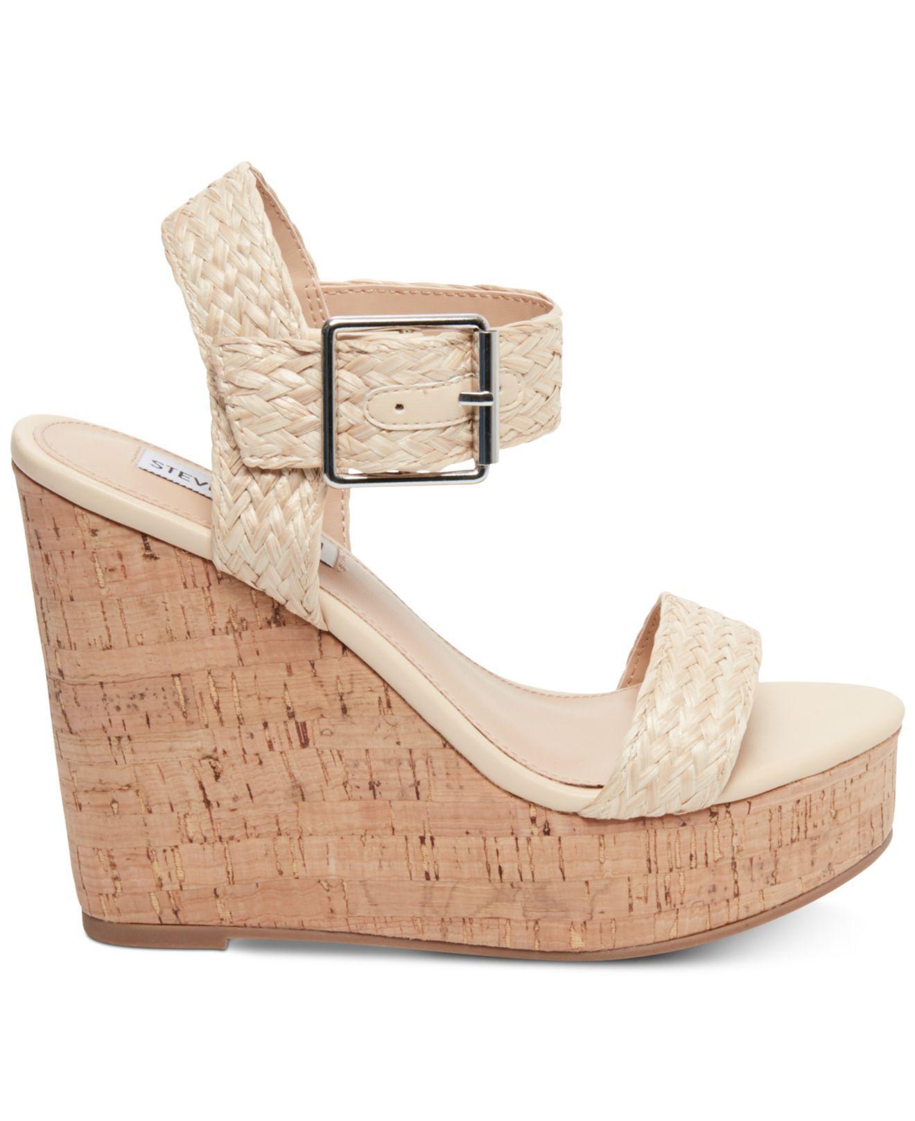 357e169b2a4 Lyst - Steve Madden Splash Platform Wedge Sandals in Natural