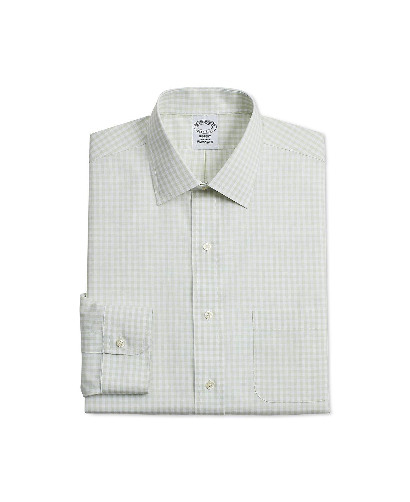 8e4a6e3a516 Brooks Brothers. Men's Regent Slim-fit Non-iron Green Gingham Supima Cotton Dress  Shirt