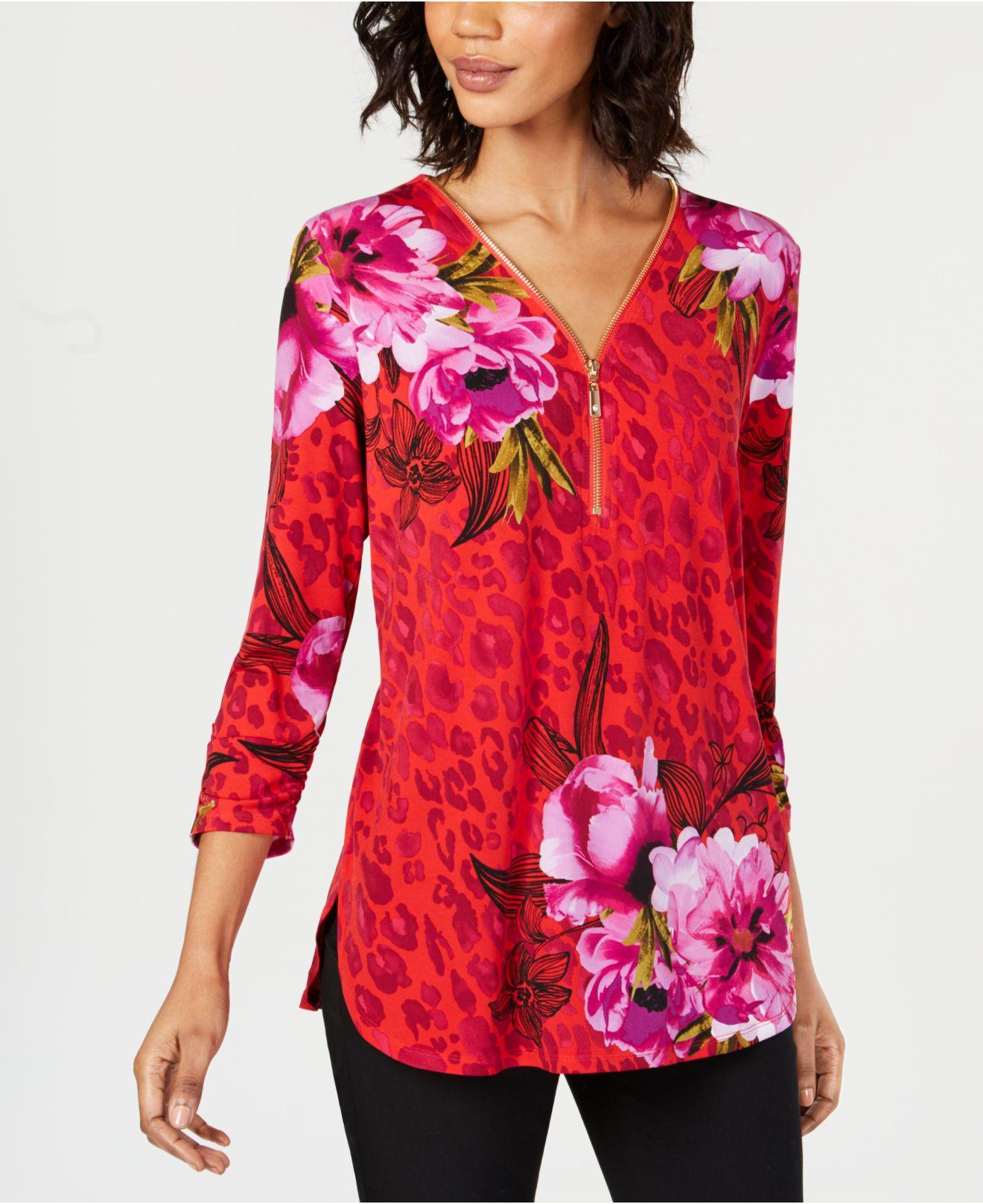 f81976894f591 Lyst - Alfani Jm Collection Petite Printed Zip-up Top