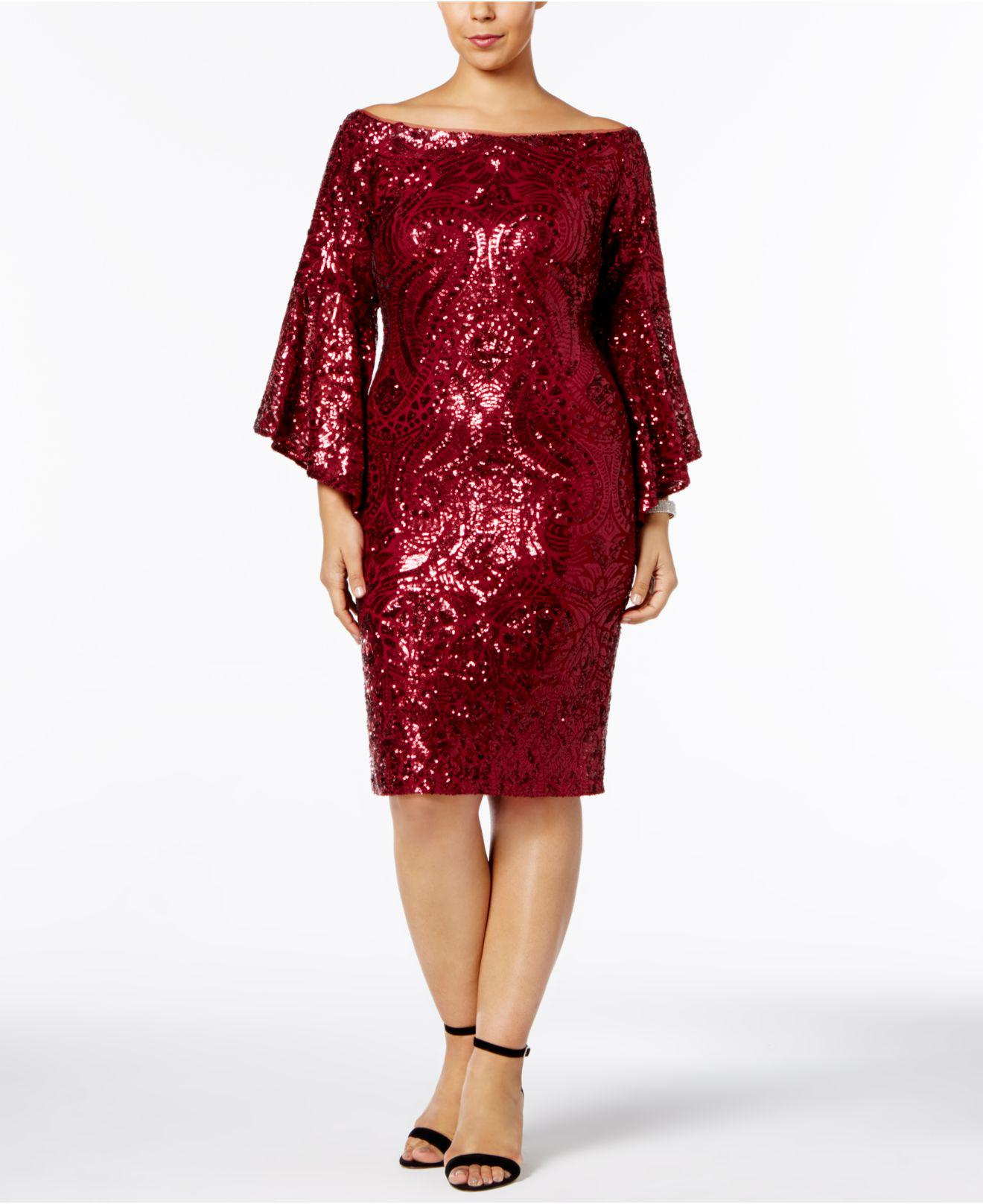 923c09889a Betsy   Adam Plus Size Sequined Bell-sleeve Dress in Red - Lyst