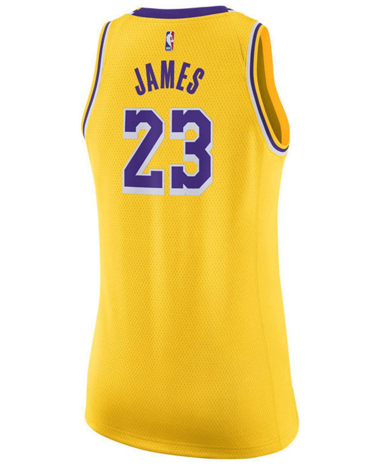 Lyst - Nike Lebron James Los Angeles Lakers Icon Swingman Jersey in Metallic 5676a0086