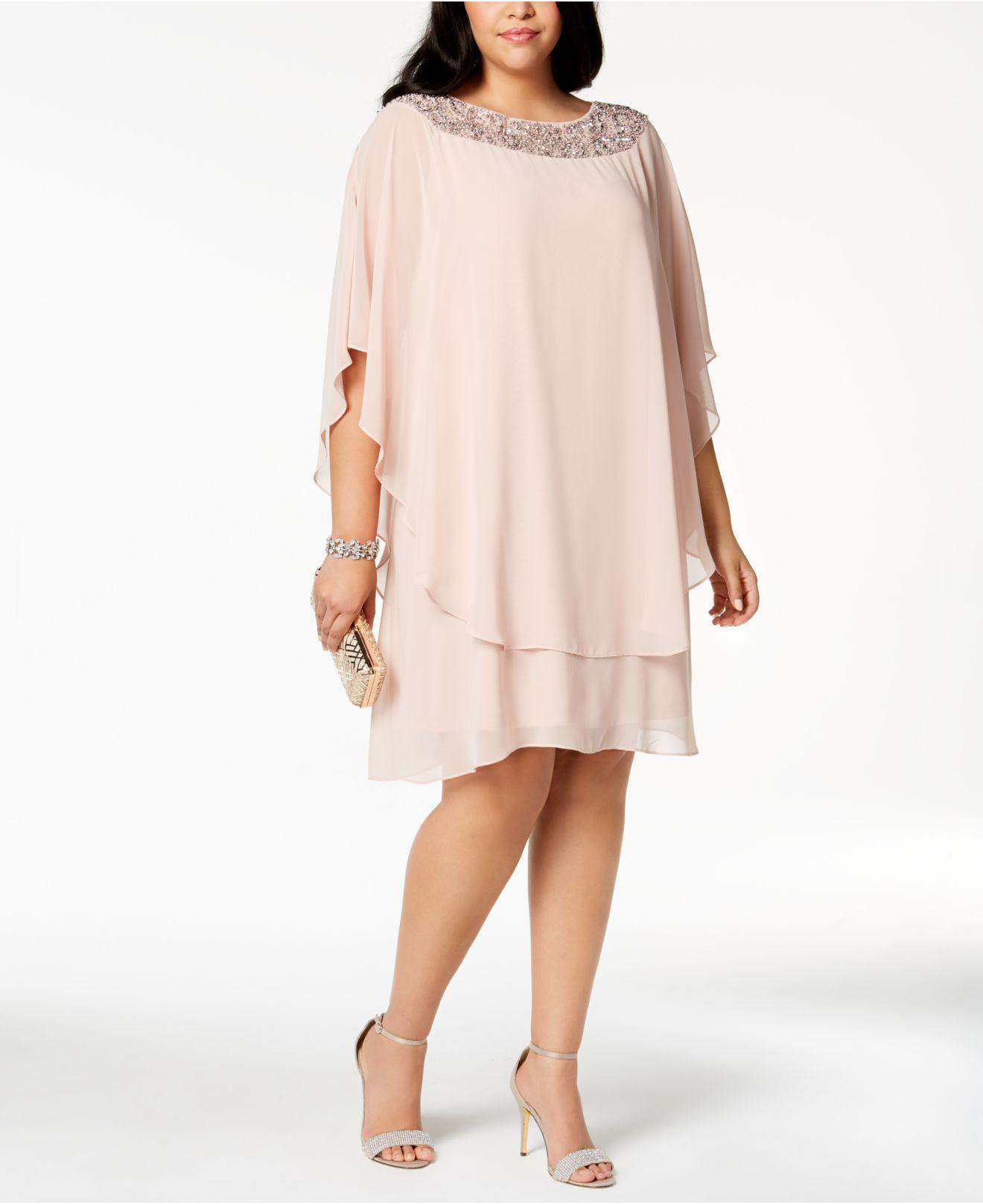 4620c0e5dae6 Xscape Chiffon Overlay Beaded Jersey Dress Plus Size - Photo Dress ...