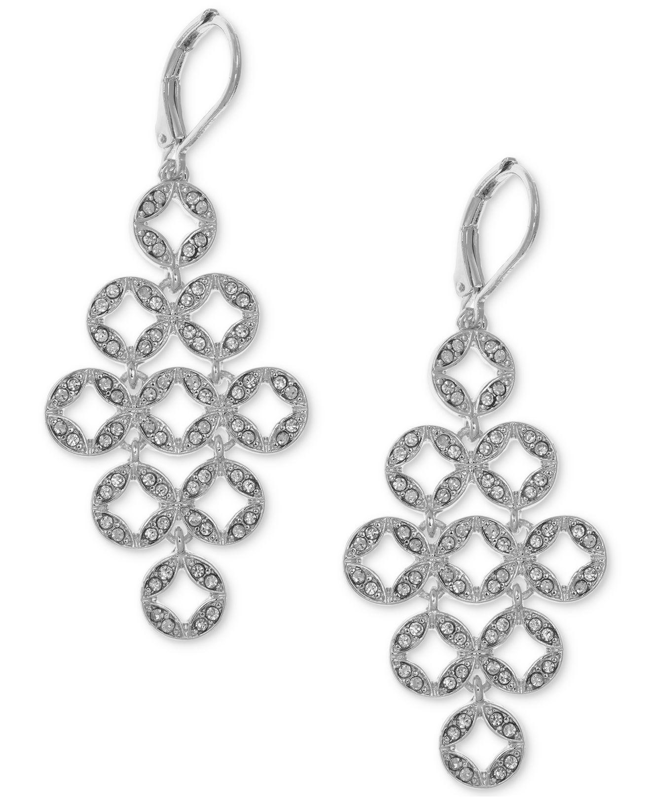 Lyst anne klein silver tone pav circles chandelier earrings in anne klein womens metallic silver tone pav circles chandelier earrings arubaitofo Choice Image