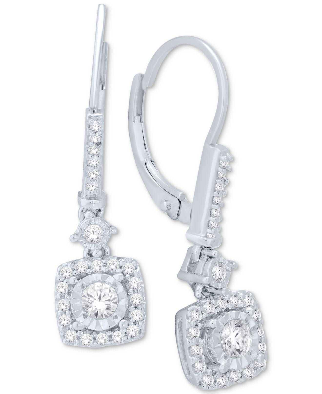 921778175 Macy's - Multicolor Diamond Cluster Drop Earrings (1/2 Ct. T.w.) In. View  fullscreen