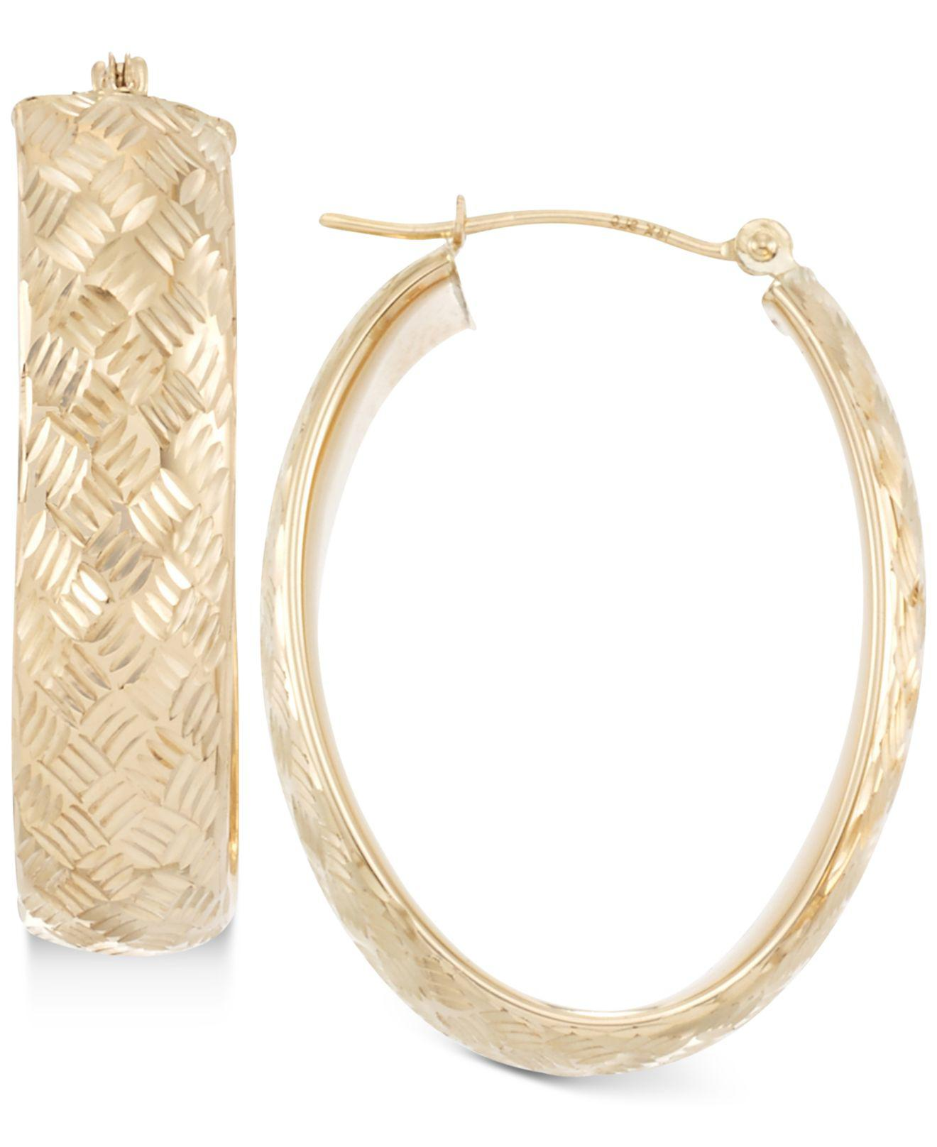 Macy S Women Wide Textured Oval Hoop Earrings In 14k Gold