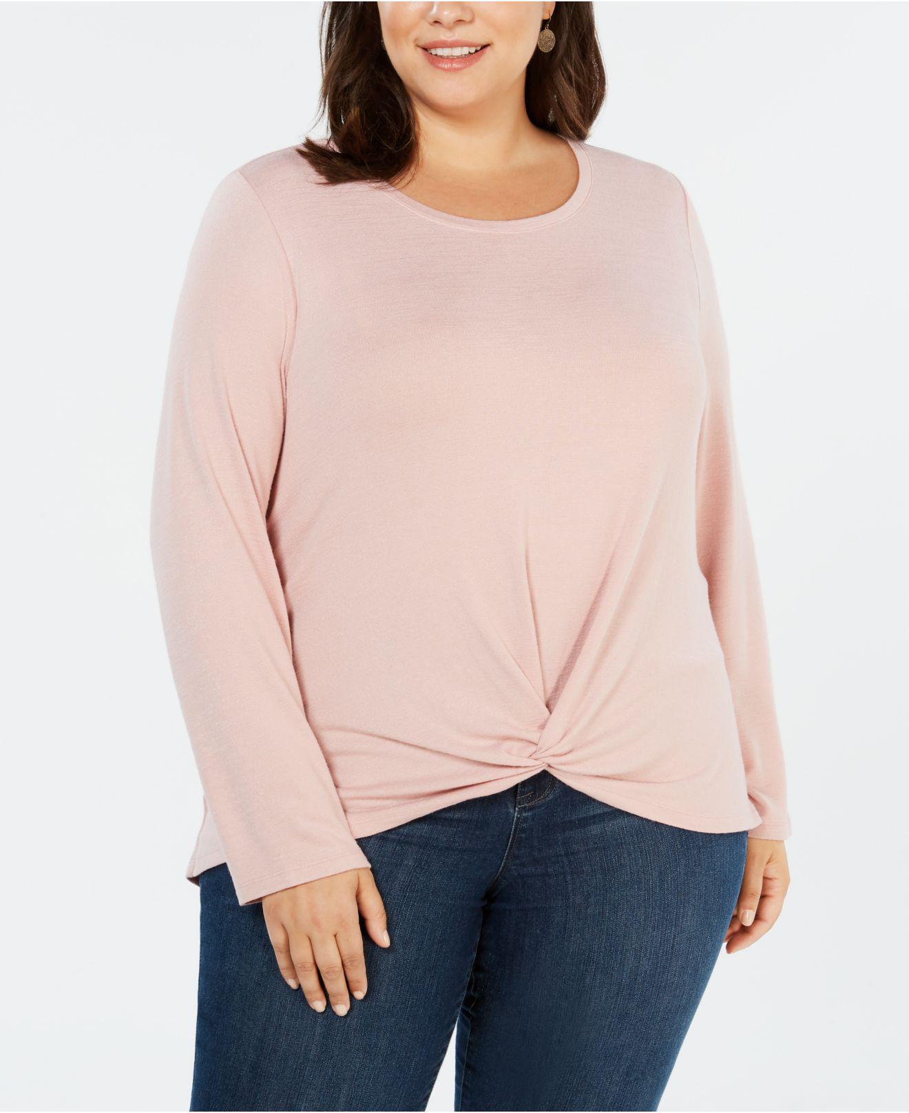 6010cc616e4 Style   Co. Women s Pink Plus Size Twist-front Top ...