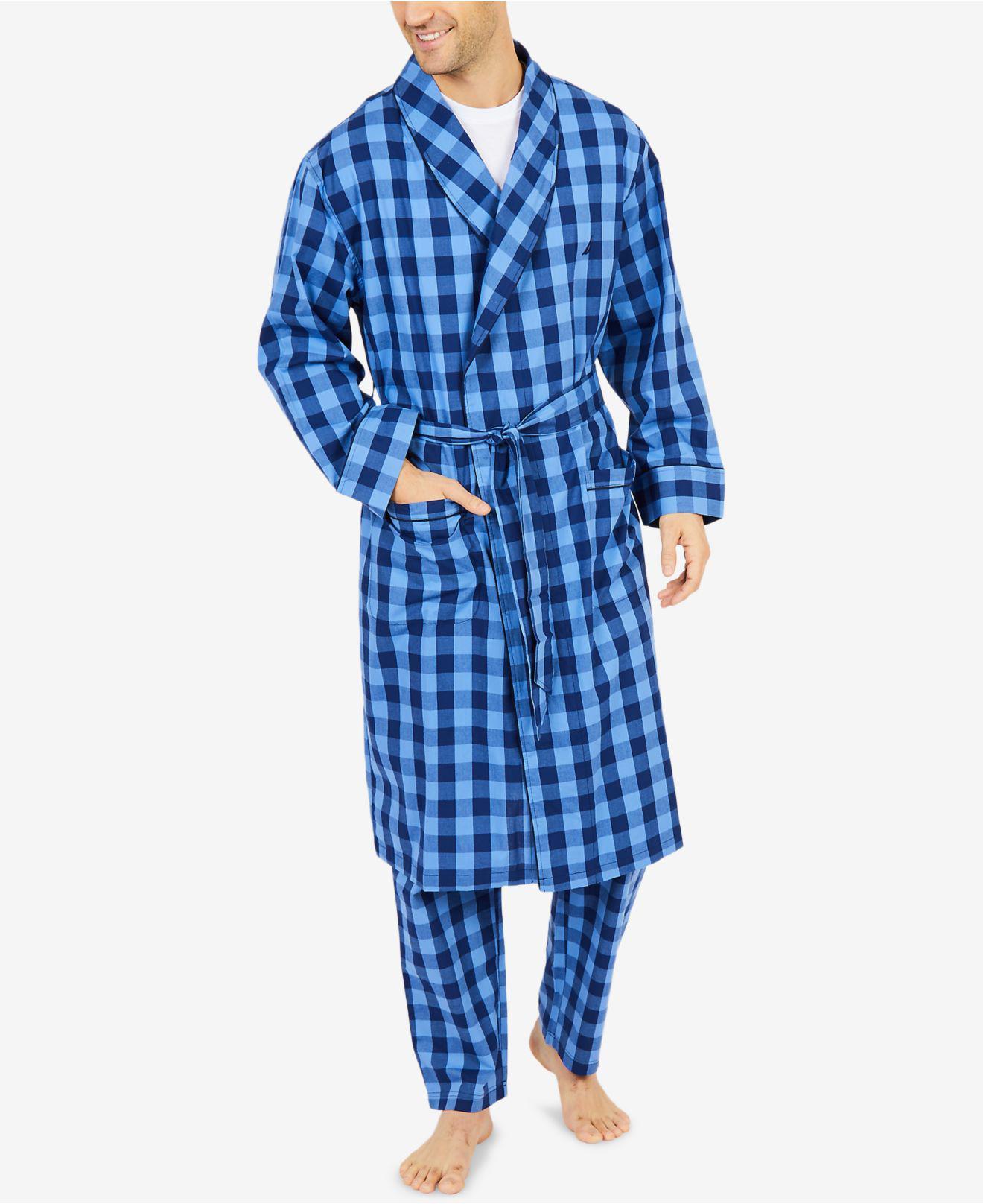 b6cb9d97a2 Lyst - Nautica Buffalo Plaid Shawl-collar Cotton Robe in Blue for Men