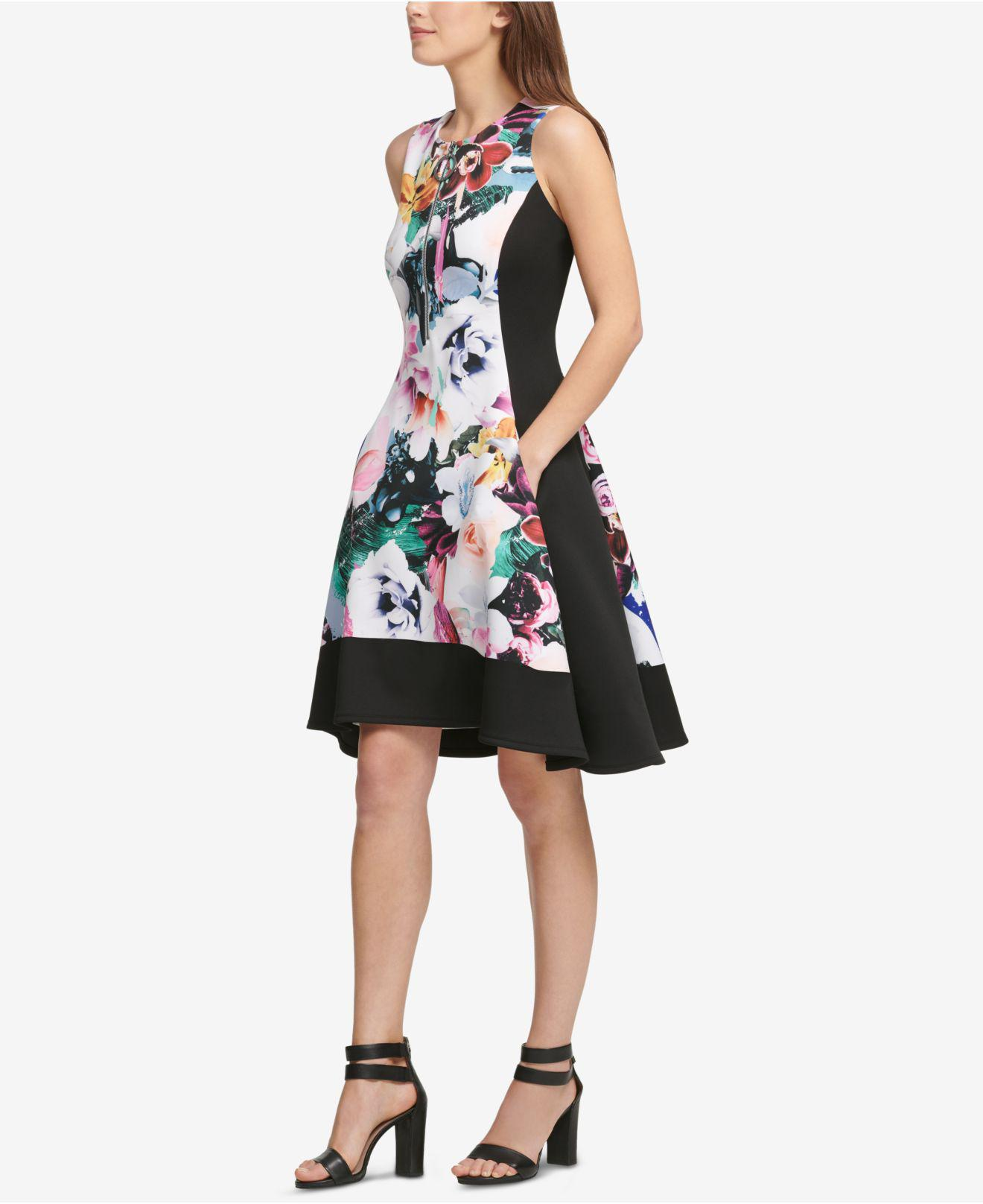 8243268d DKNY Colorblocked Floral Fit & Flare Dress, Created For Macy's in ...