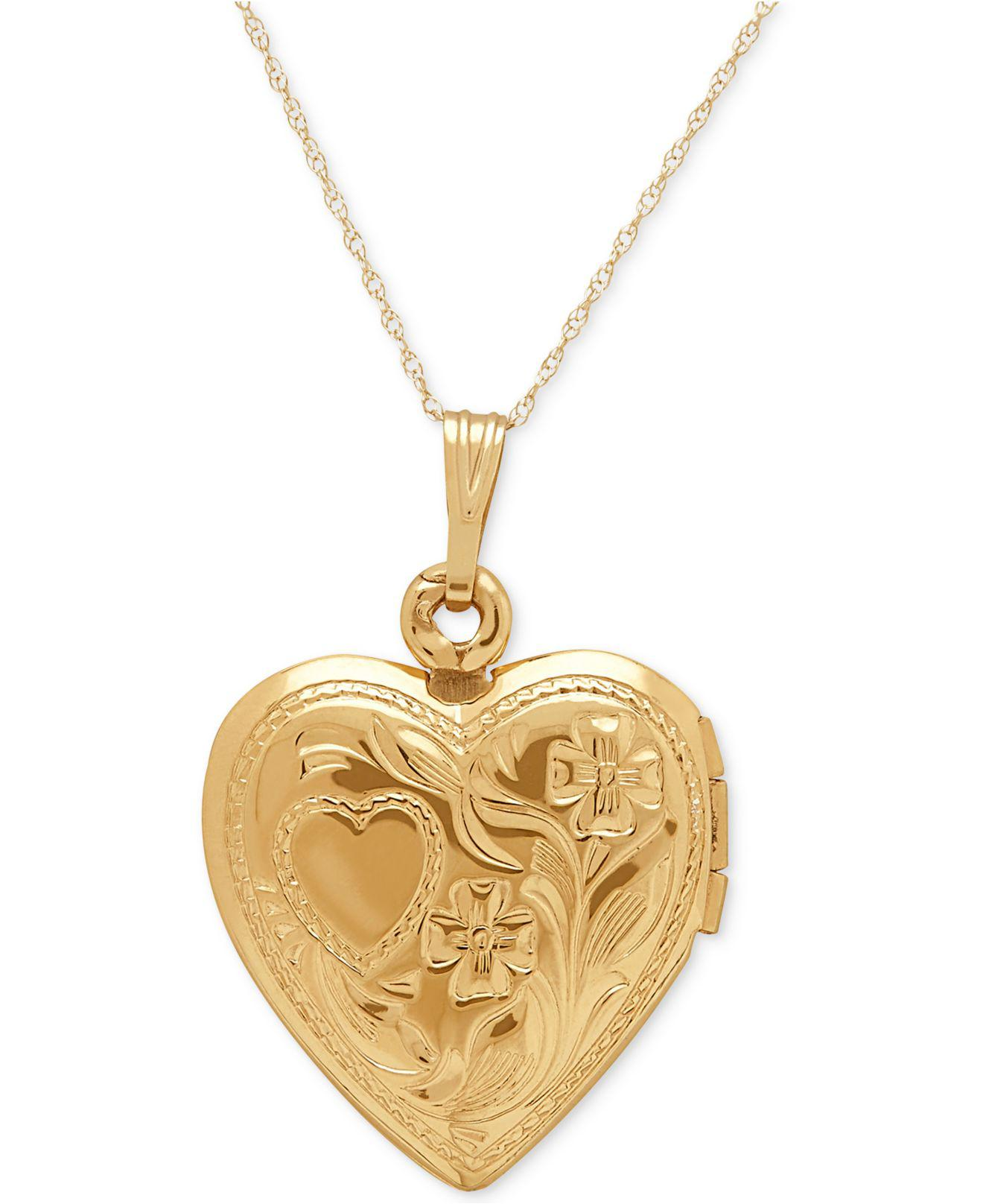 Lyst macys engraved heart locket pendant necklace in 10k gold in lyst macys engraved heart locket pendant necklace in 10k gold in metallic aloadofball Choice Image