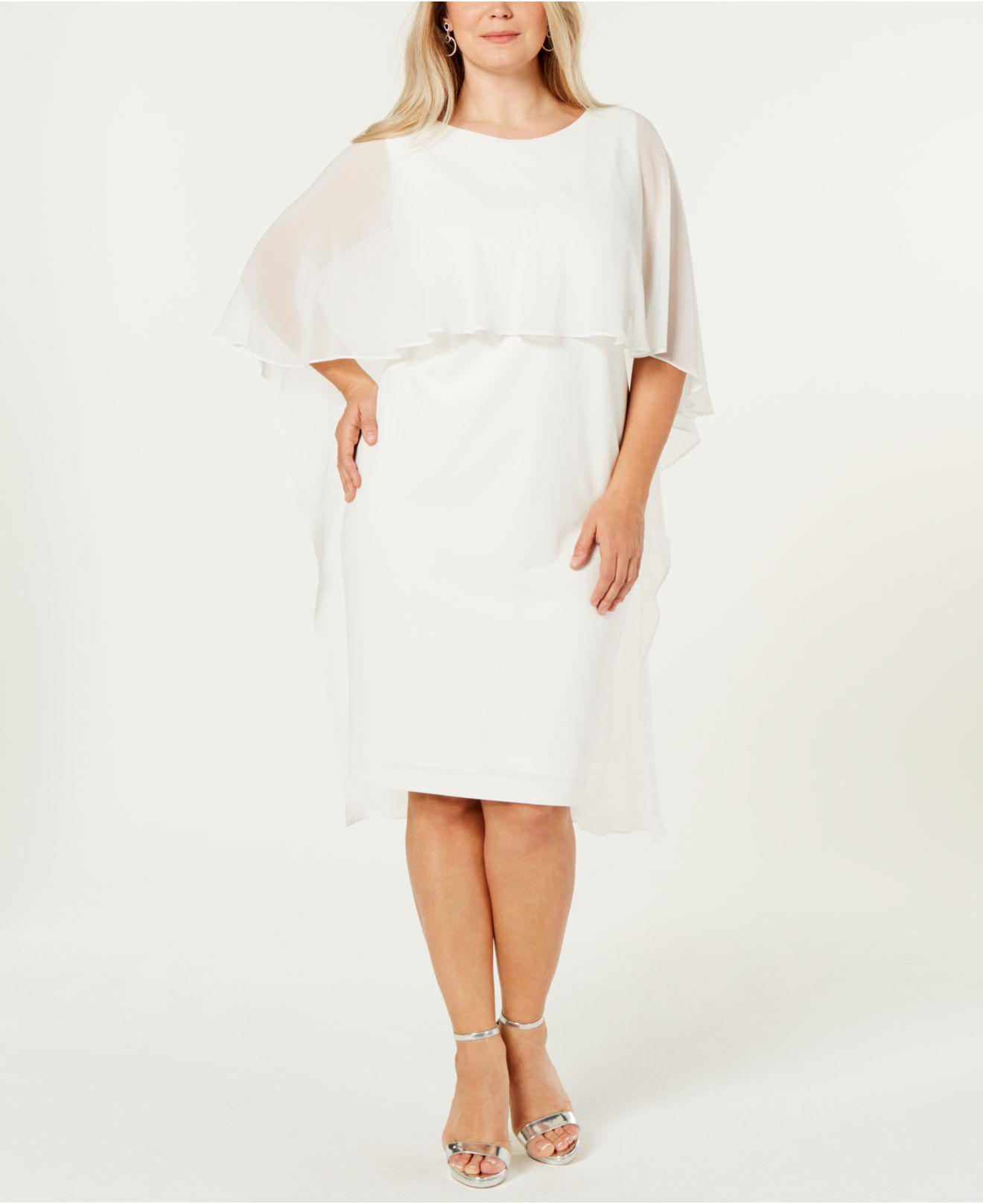 e8d0e1abfeff2 Lyst - Calvin Klein Plus Size Chiffon-cape Dress in White