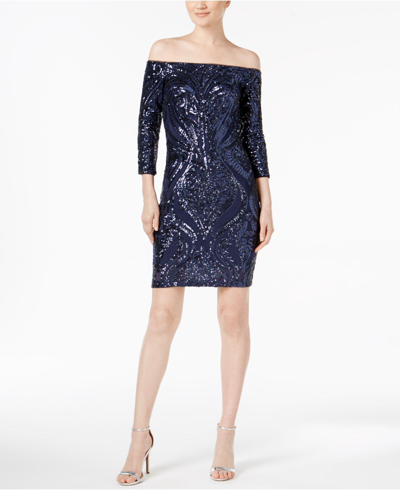 353f2776e065 Lyst - Betsy   Adam Off-the-shoulder Sequin Sheath Dress in Blue