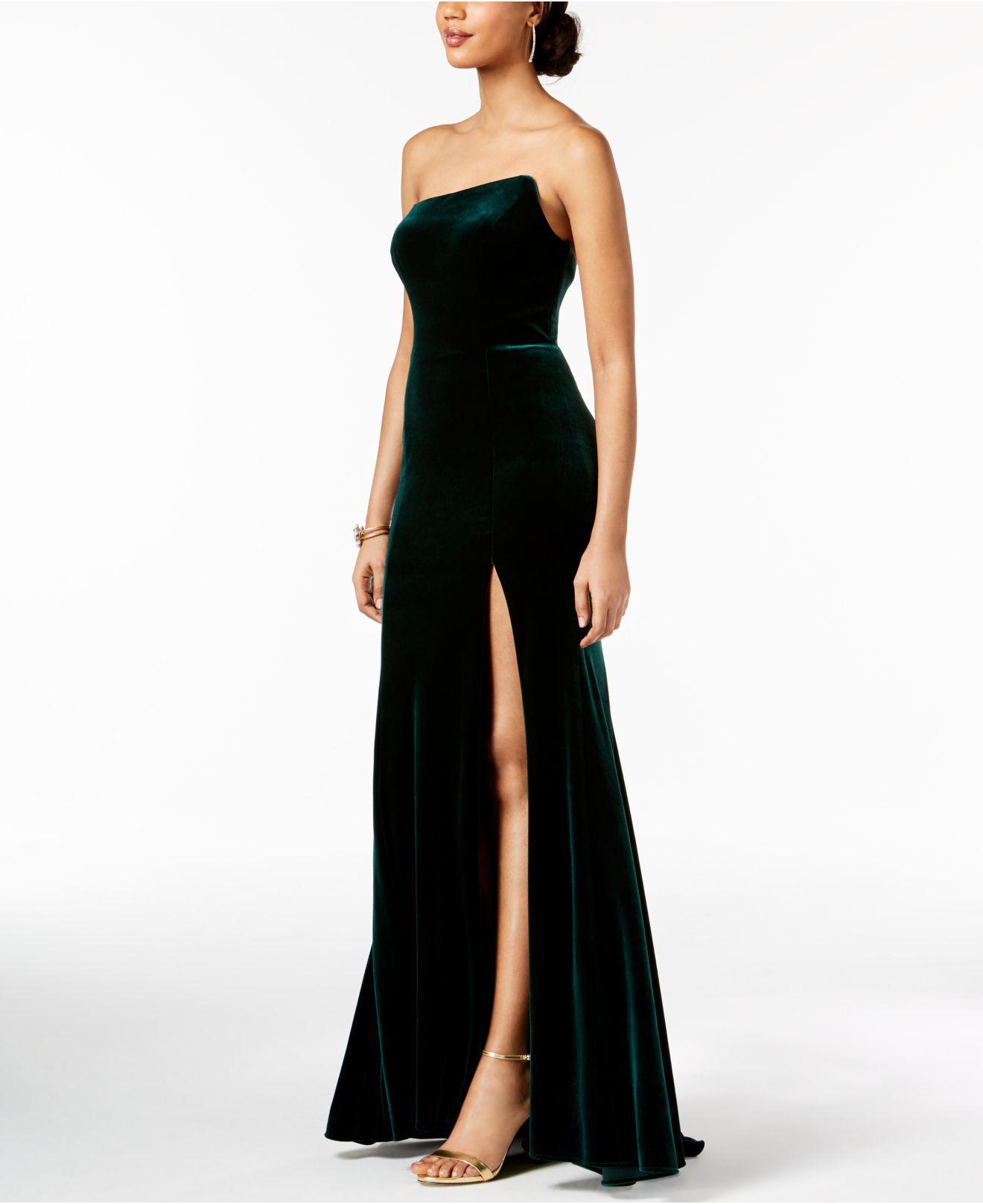 10338d76b574 Betsy & Adam Strapless Velvet Slit Gown in Black - Lyst