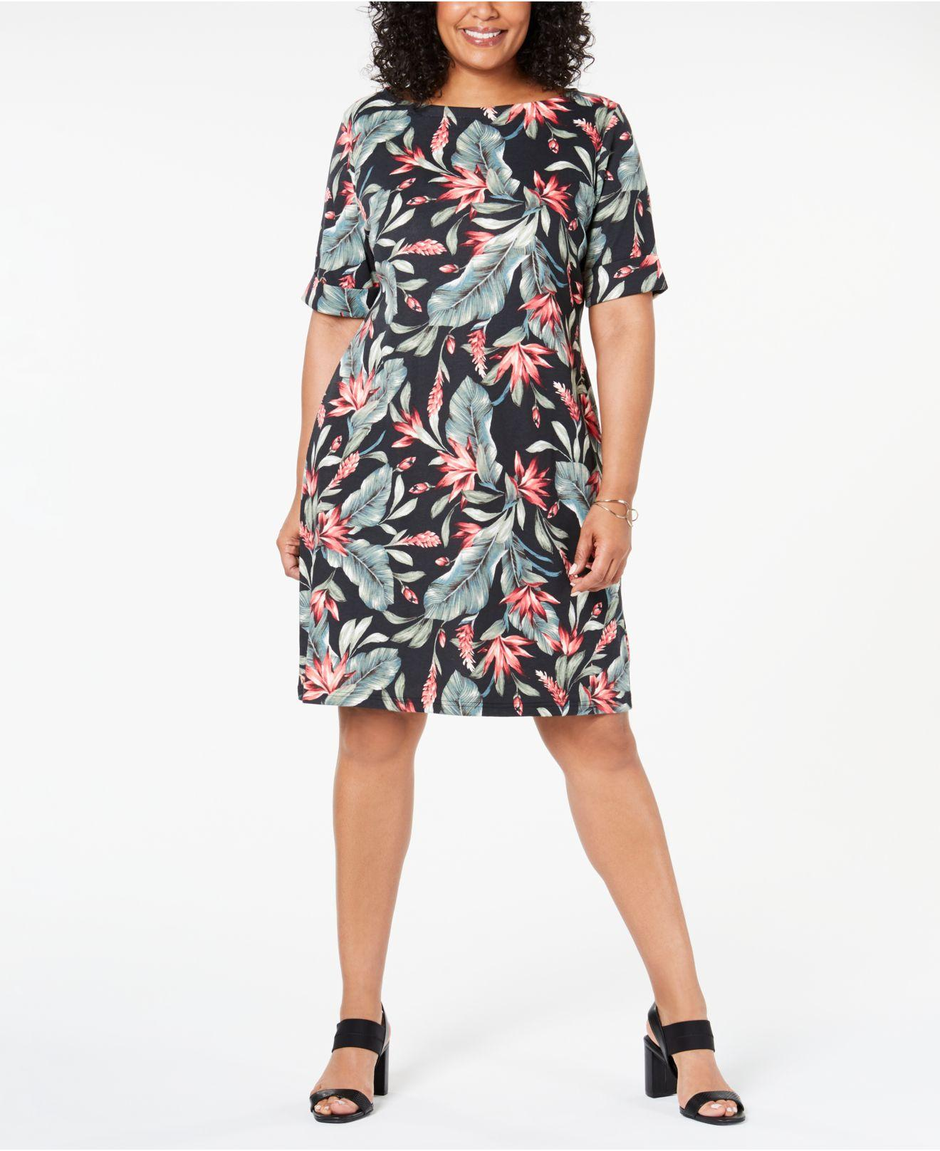 Karen Scott Plus Size Floral-print Dress, Created For Macy\'s ...