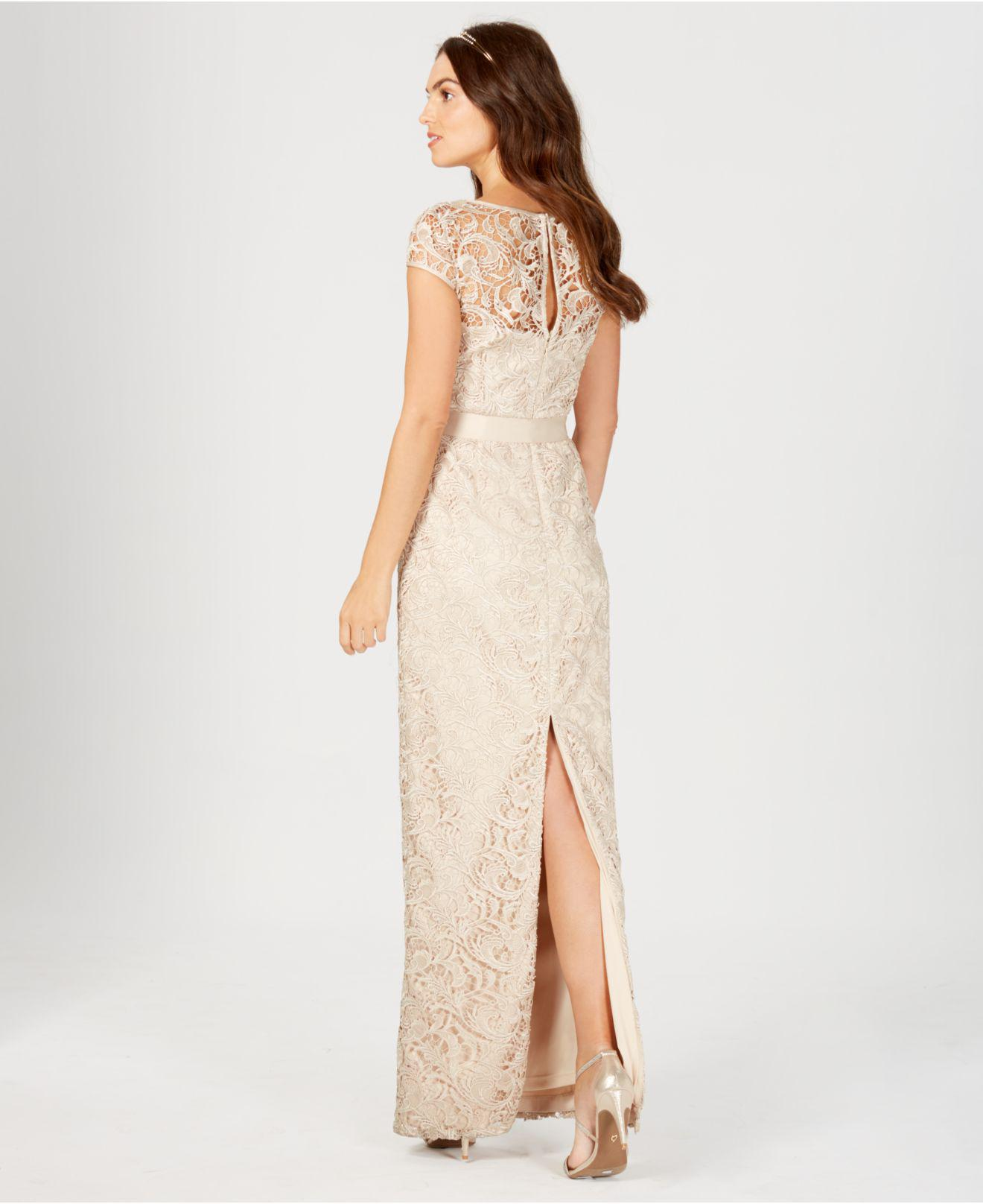 c5238bf24d7d Adrianna Papell Lace Cap-Sleeve Gown in White - Lyst