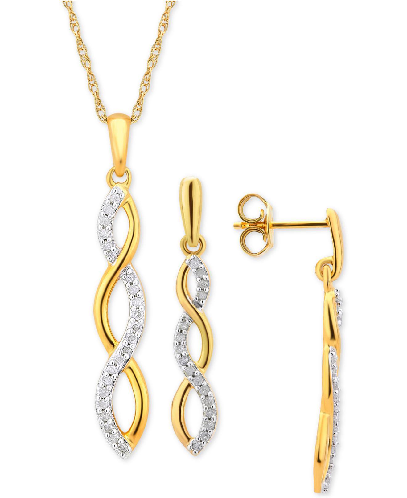 Lyst MacyS Diamond Infinity Jewelry Set 14 Ct Tw In 14k
