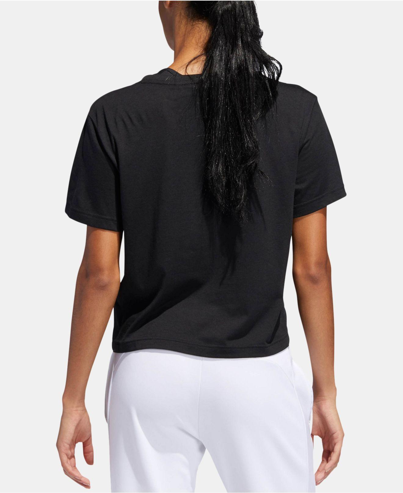 7f971bf0843 Lyst - adidas Logo-graphic Climalite® Cropped T-shirt in Black