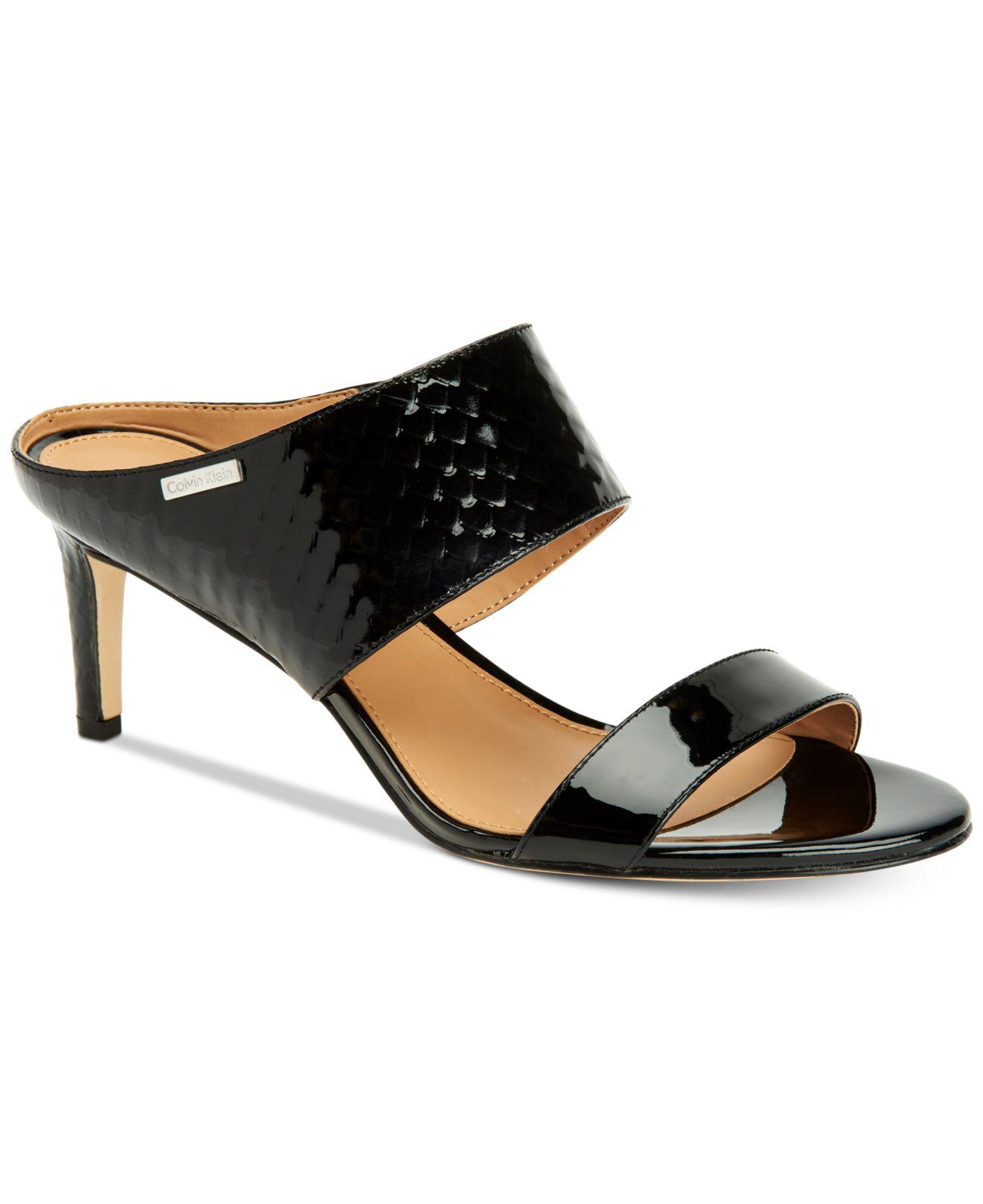 996a4db0cd1 Lyst - Calvin Klein Women s Cecily Wide-strap Sandals in Black ...