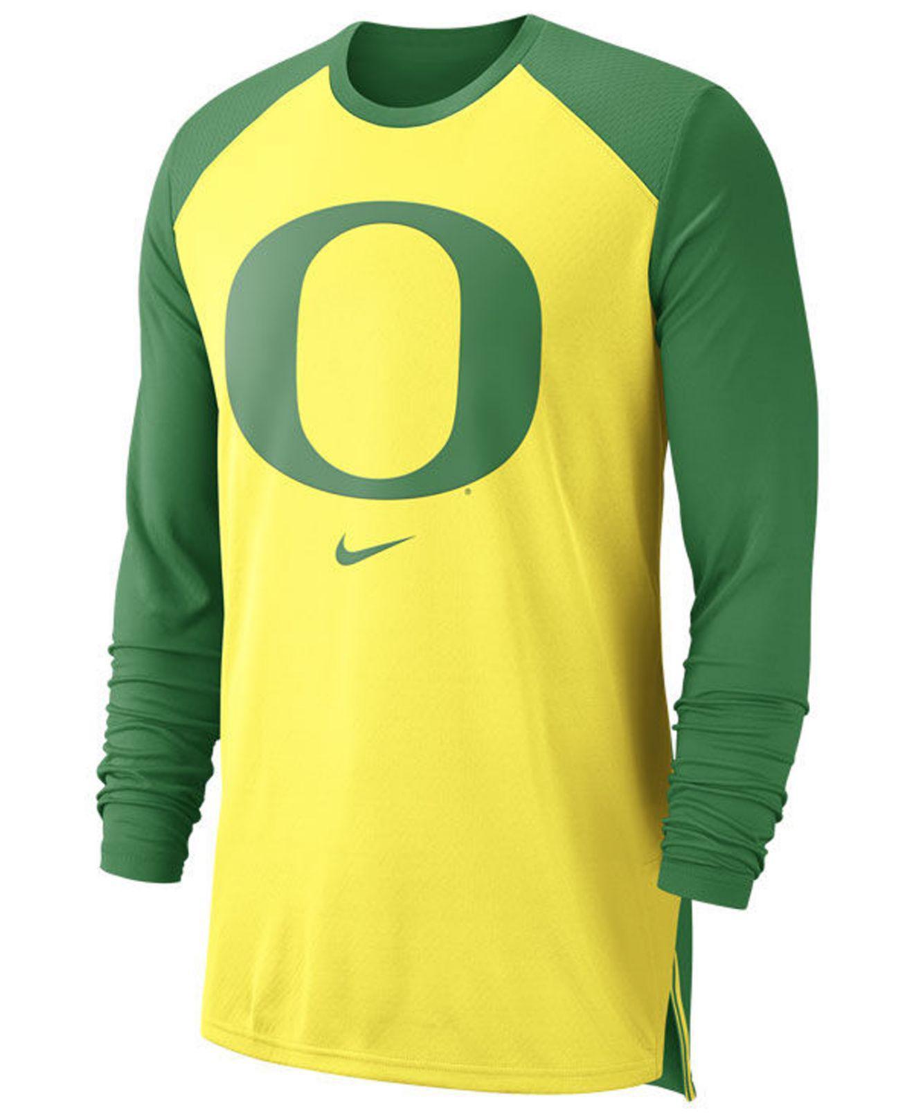 low priced fa2d8 7676d Oregon Ducks Nike Logo Cotton Long Sleeve T Shirt Yellow