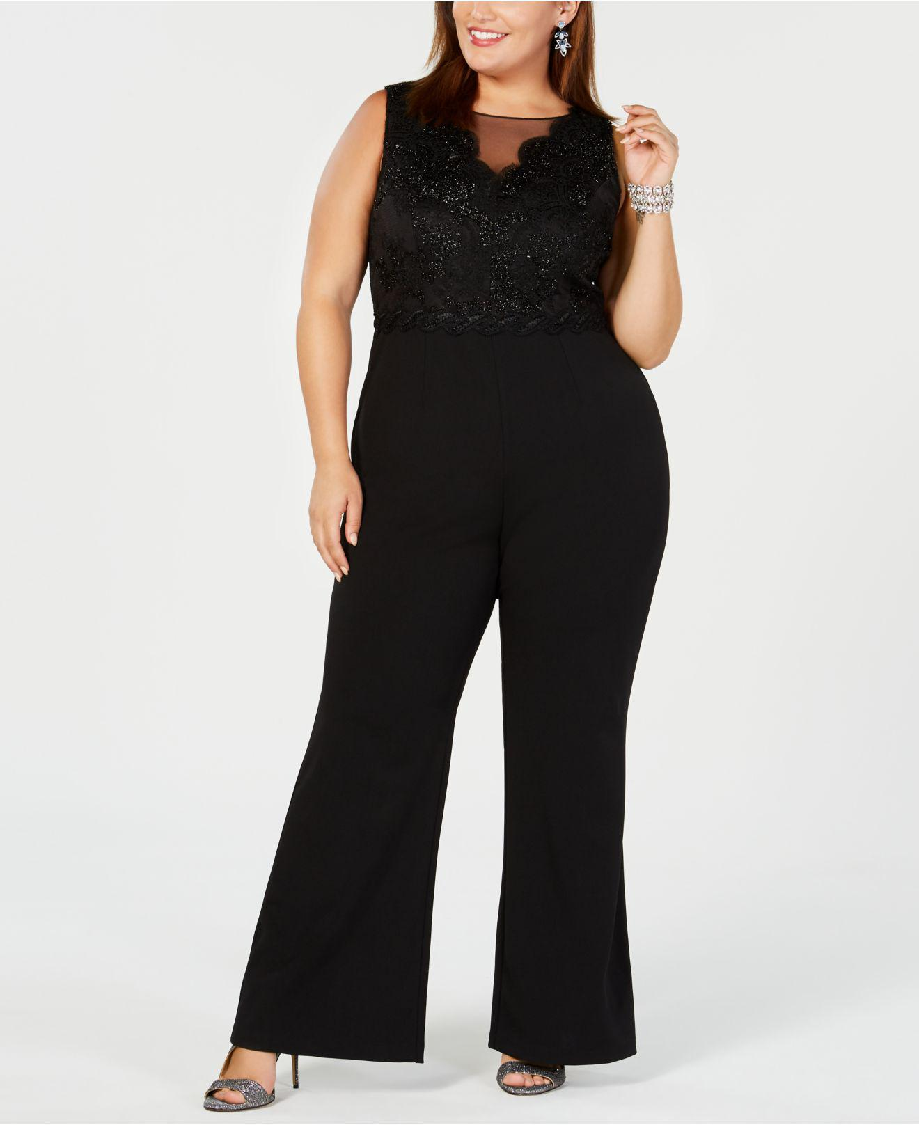 3f2f6ddb5488 Lyst - Adrianna Papell Plus Size Metallic Lace Jumpsuit in Black ...