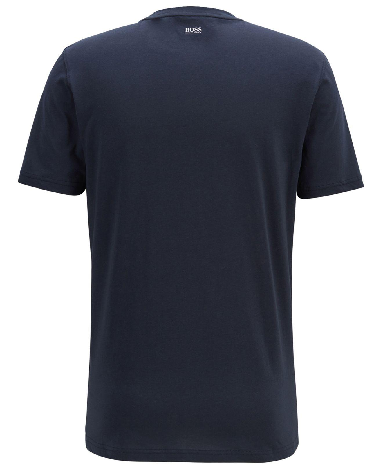 28ab6aae1 Lyst - BOSS Relaxed-fit T-shirt With Cracked-effect Graphic Print in Blue  for Men