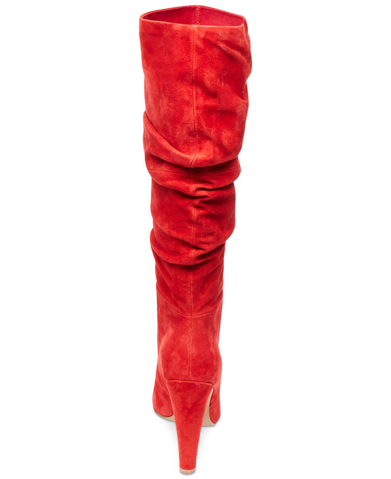 8bc784314f0 Lyst - Steve Madden Women s Carrie Slouchy Boots in Red