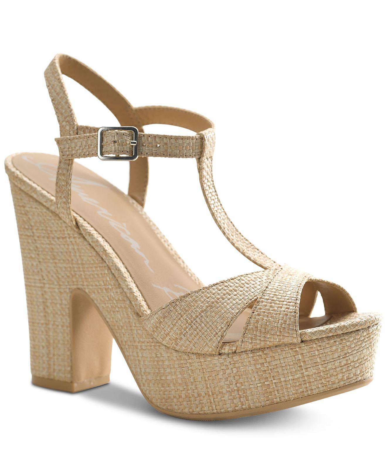 36a498fb030 American Rag. Women s Natural Jamie T-strap Platform Dress Sandals
