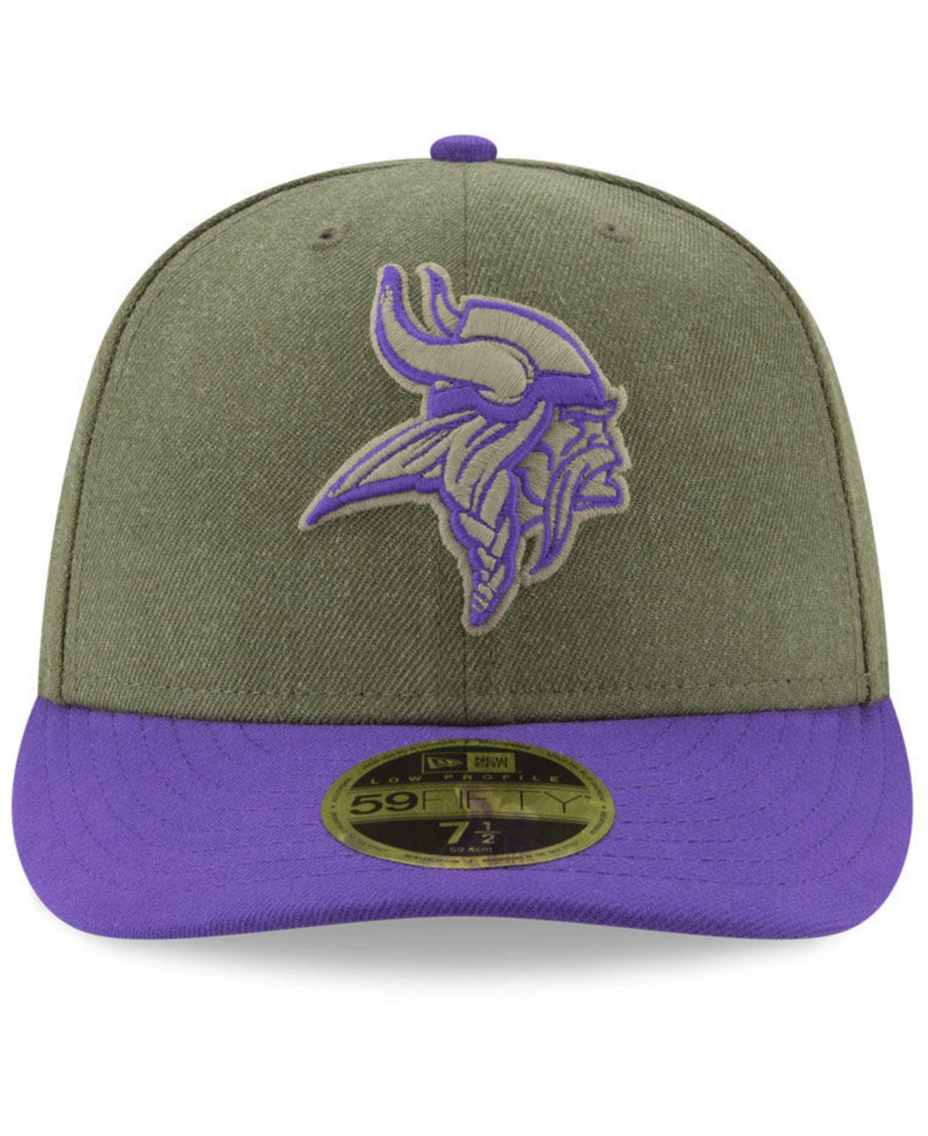 Lyst - KTZ Minnesota Vikings Salute To Service Low Profile 59fifty Fitted  Cap 2018 in Green for Men aa300f0b1