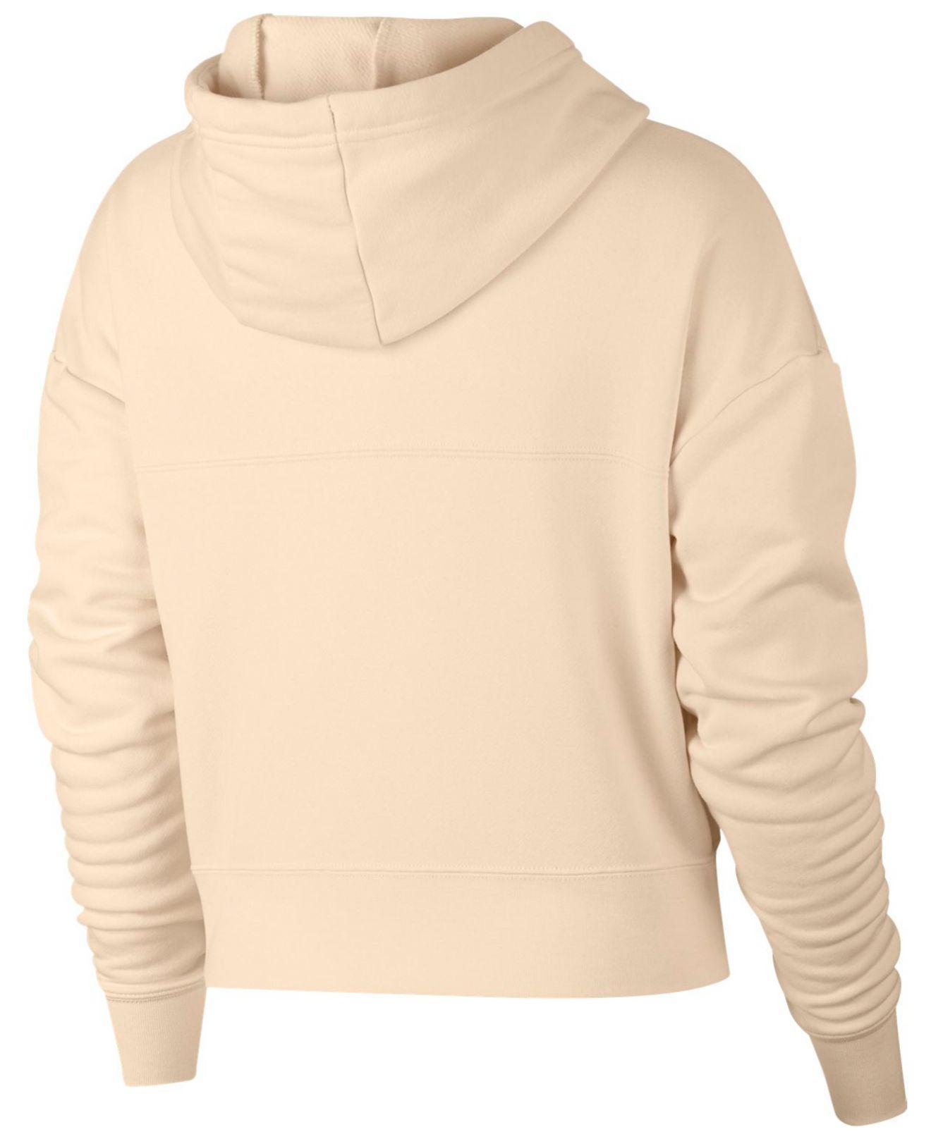 b24e46a71bd7d Lyst - Nike Sportswear Rally Metallic-logo Fleece Cropped Hoodie in Natural  - Save 25%