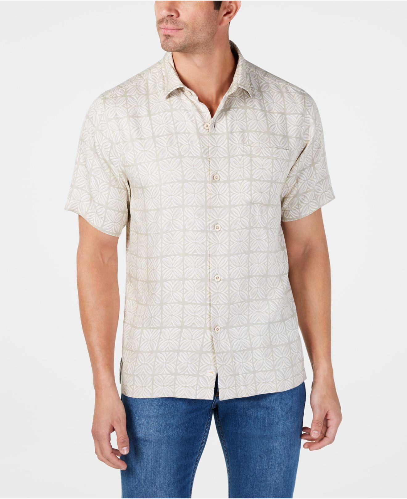 d2f62a60eb Tommy Bahama. Men's Brown Classic Fit Tonal Geo-print Silk Camp Shirt,  Created For Macy's