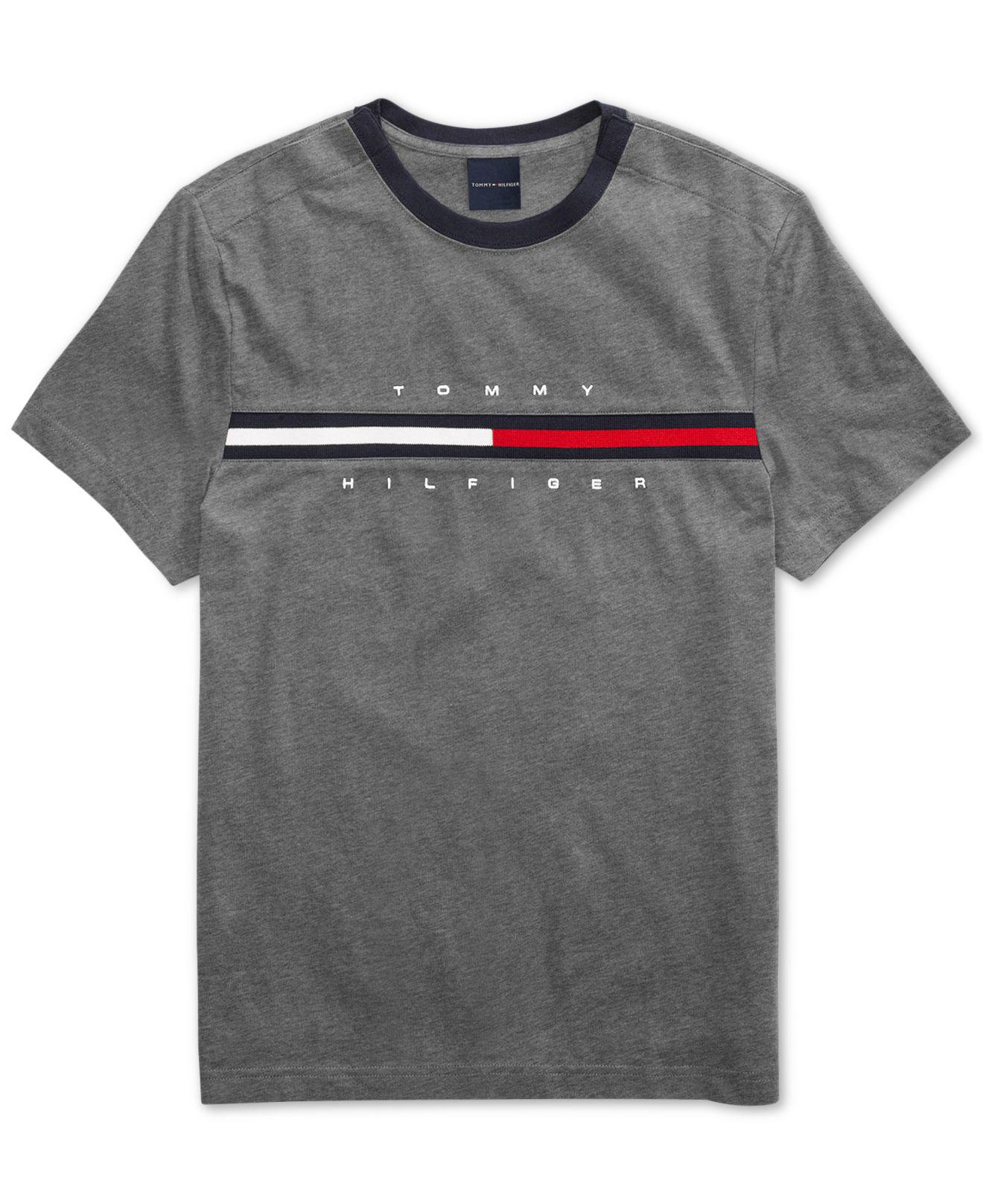 f2669f41 Tommy Hilfiger. Men's Gray Tino T-shirt With Magnetic Closure At Shoulders