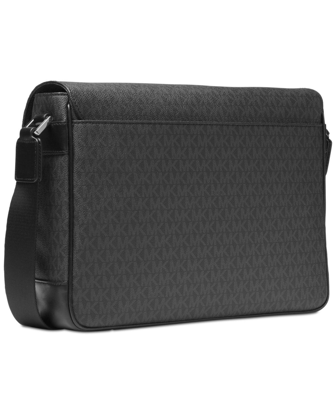 bb8d07b23eba ... cheapest michael kors mens faux leather logo print messenger bag in  black for men lyst a020f
