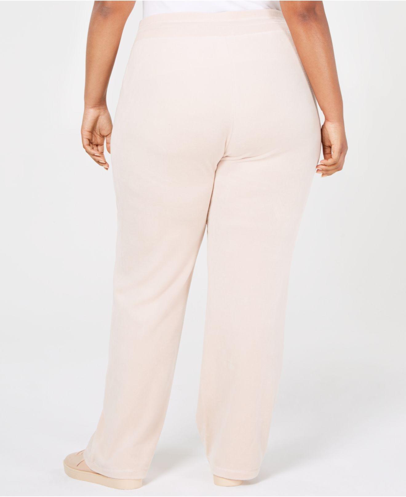 36c79ea07fc Lyst - Calvin Klein Plus Size Velour Wide Leg Pants in Pink