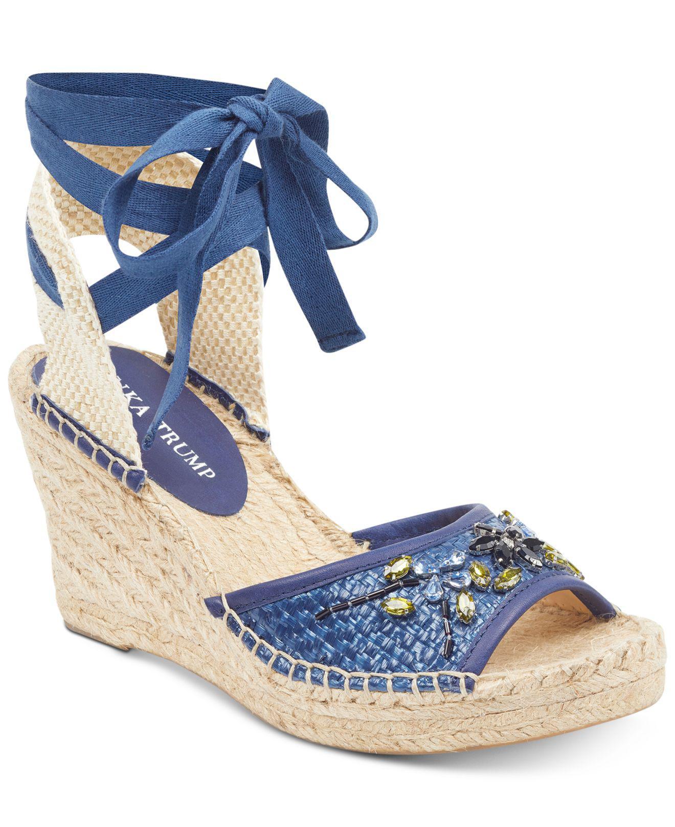 Ivanka Trump. Women's Blue Daylana Espadrille Wedge Sandals